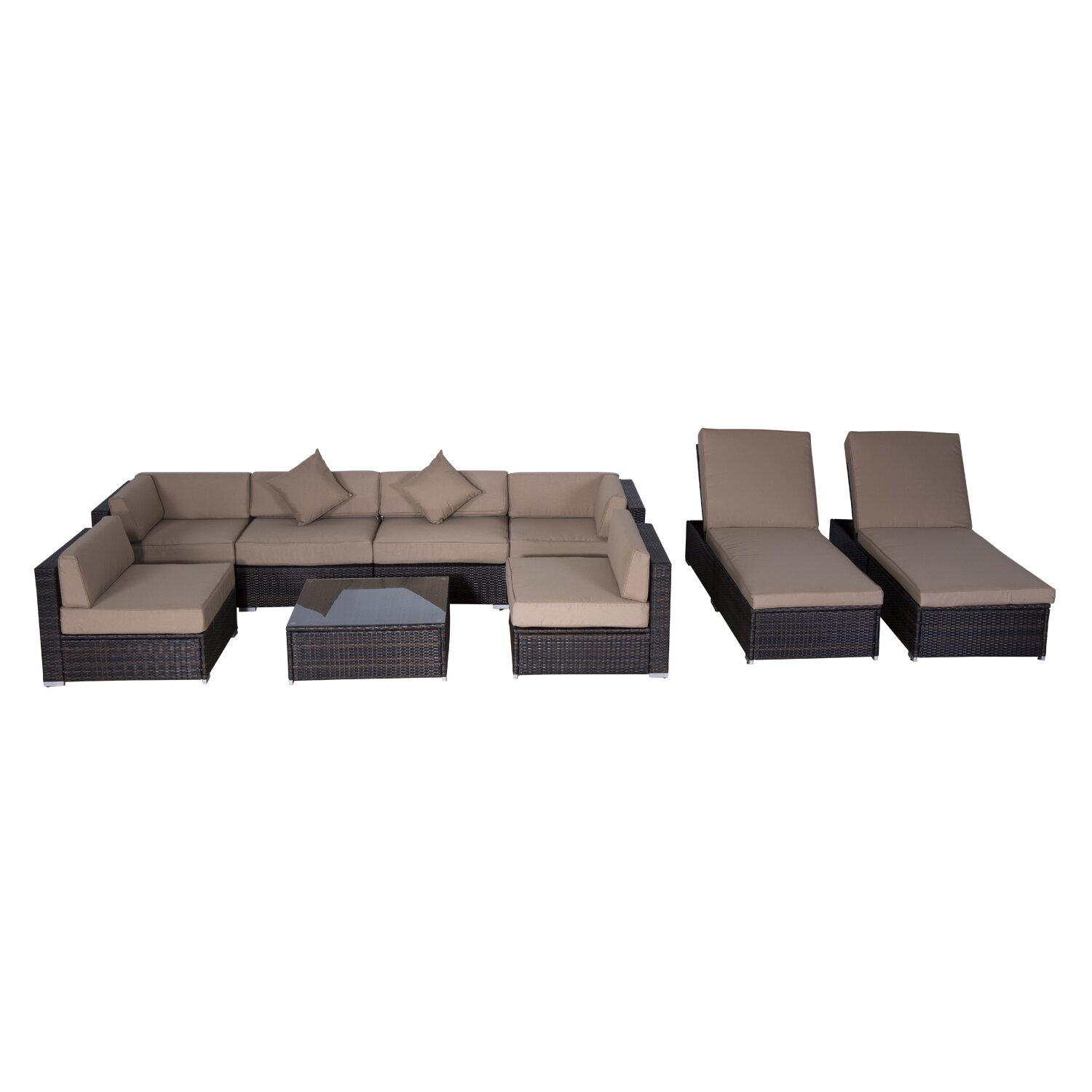 Outsunny Outsunny 9 Piece Seating Group with Cushions & Reviews