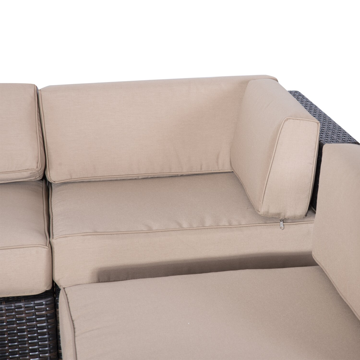 Outsunny outsunny 9 piece seating group with cushions for Chaise lounge couch set