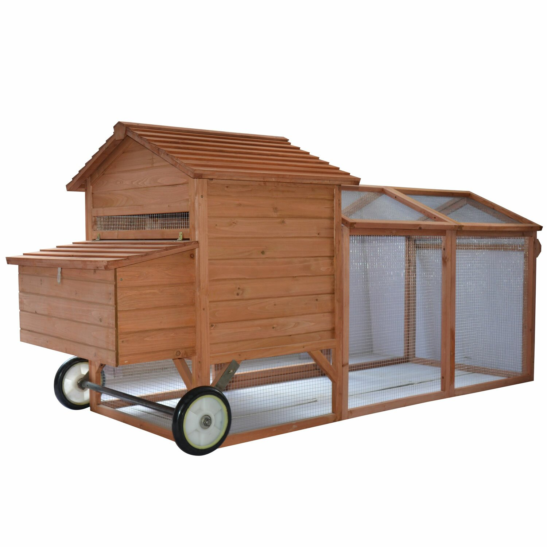 Pawhut wheeled tractor hen house chicken coop with chicken for 3 chicken coop