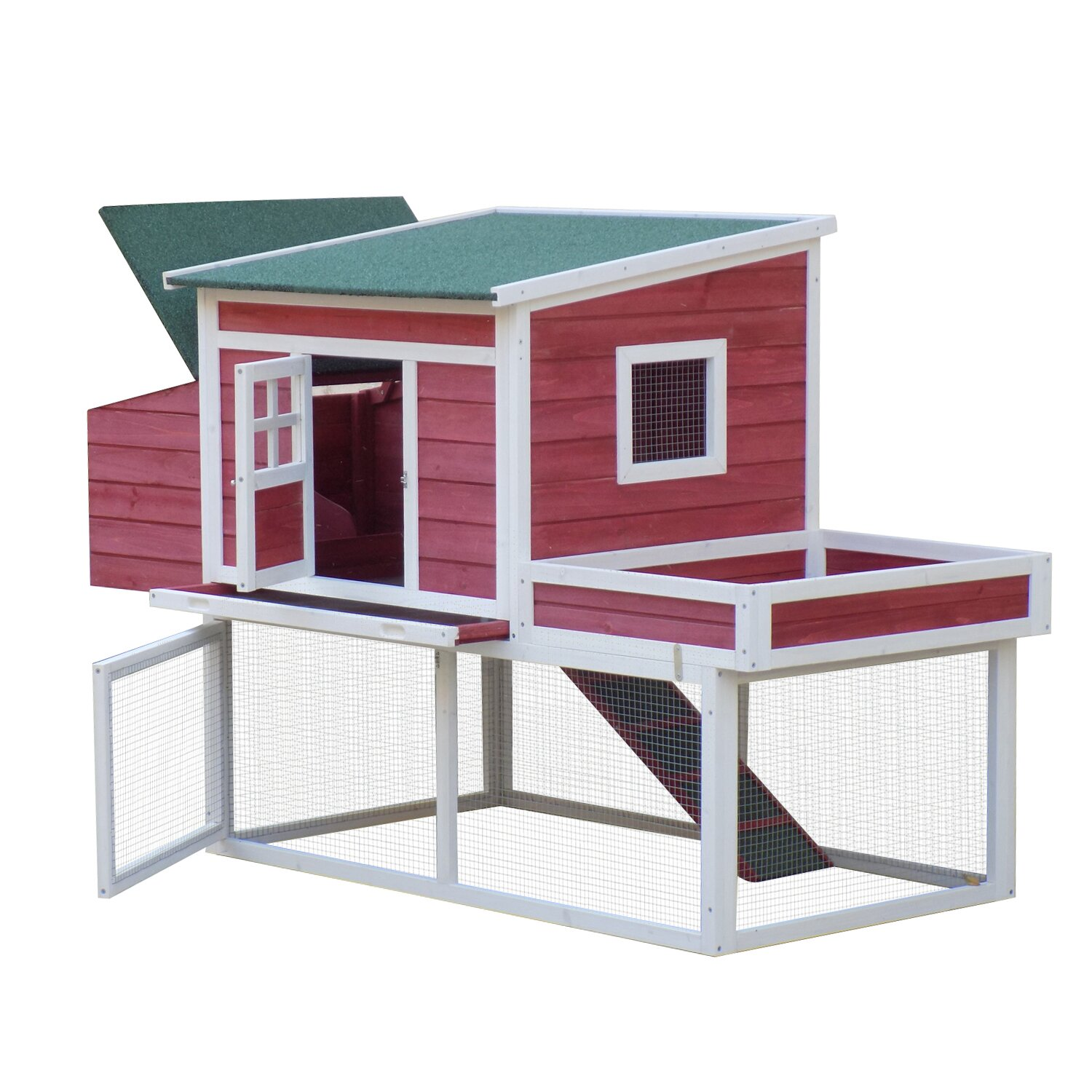 Pawhut farmhouse chicken coop with display top run area for Wooden chicken crate plans