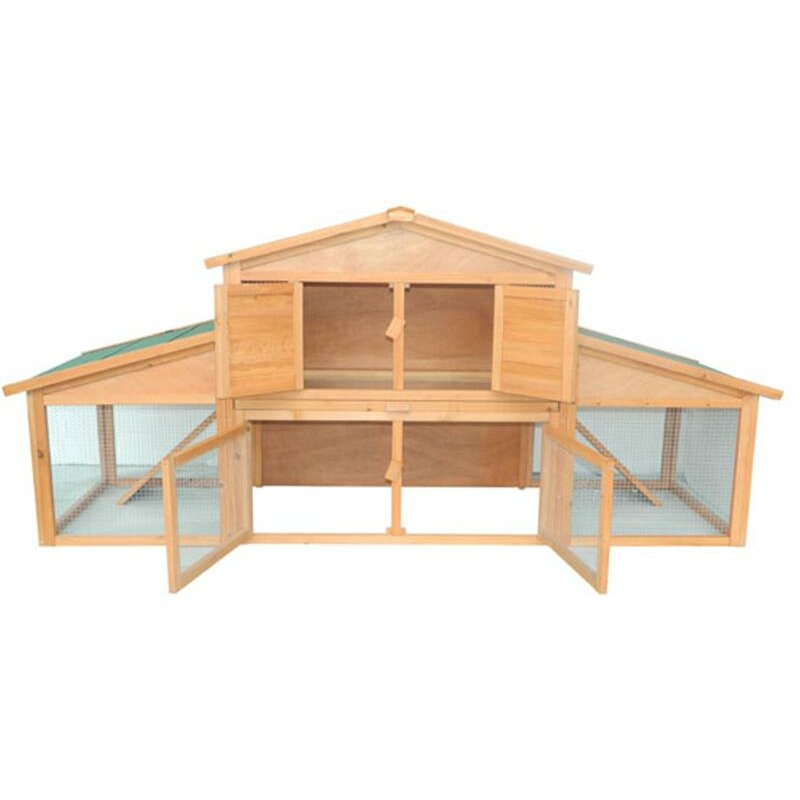 Pawhut large bunny rabbit hutch chicken coop with large for Free guinea pig hutch