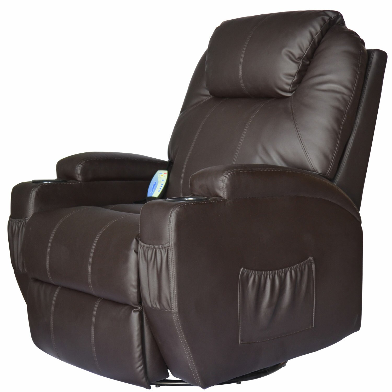 Outsunny HomCom Deluxe Heated Vibrating Vinyl Leather Massage Recliner & Reviews | Wayfair