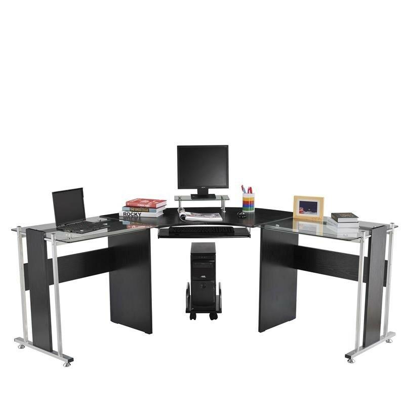 HomCom Modern L-Shaped Symmetrical Computer Desk u0026 Reviews : Wayfair