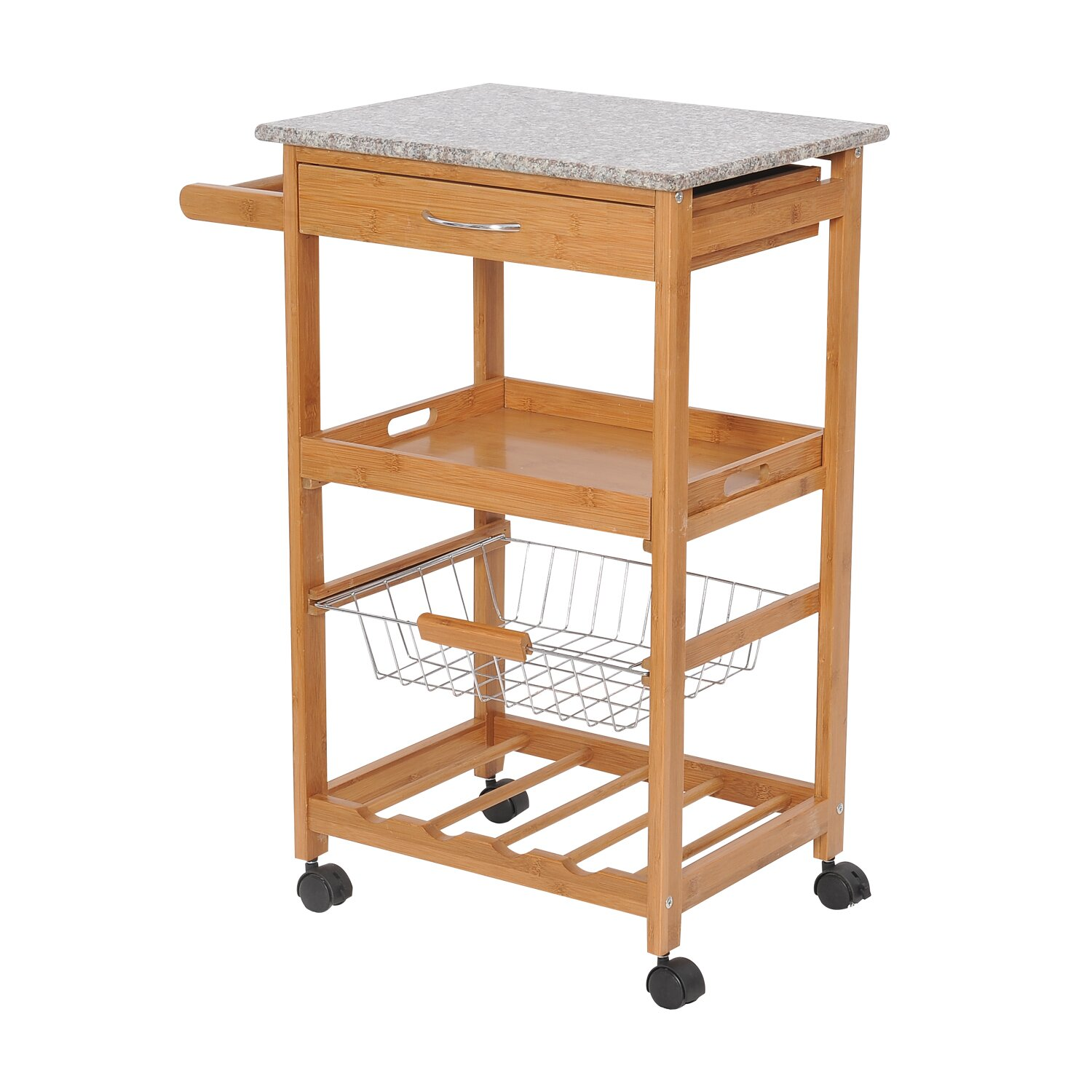 Hom Kitchen Cart with Granite Top & Reviews