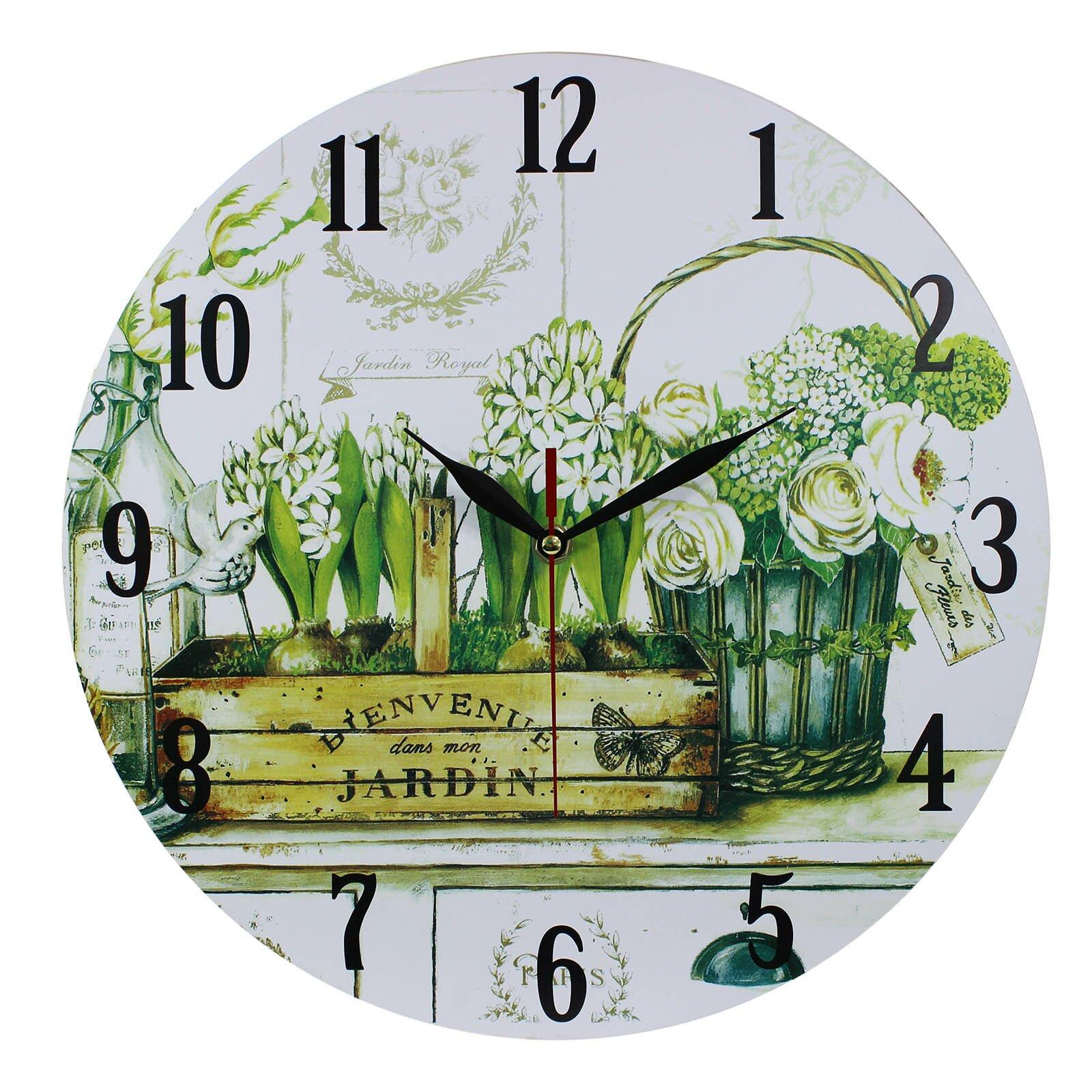 Obique bienvenue dans mon jardin 34cm wall clock wayfair uk for Bienvenue dans mon jardin
