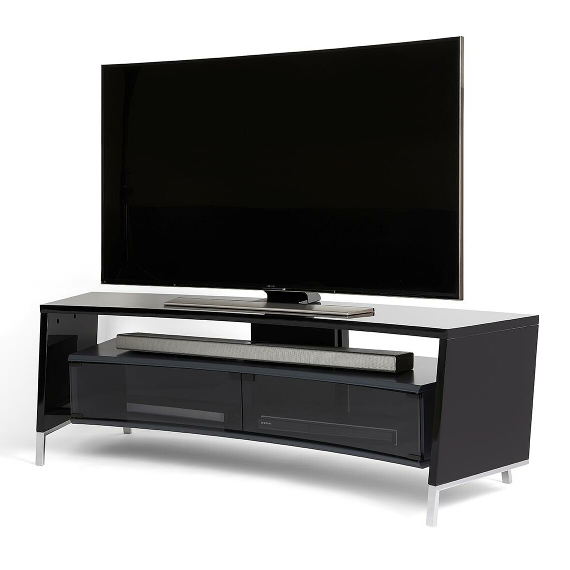 off the wall curve tv stand reviews wayfair. Black Bedroom Furniture Sets. Home Design Ideas
