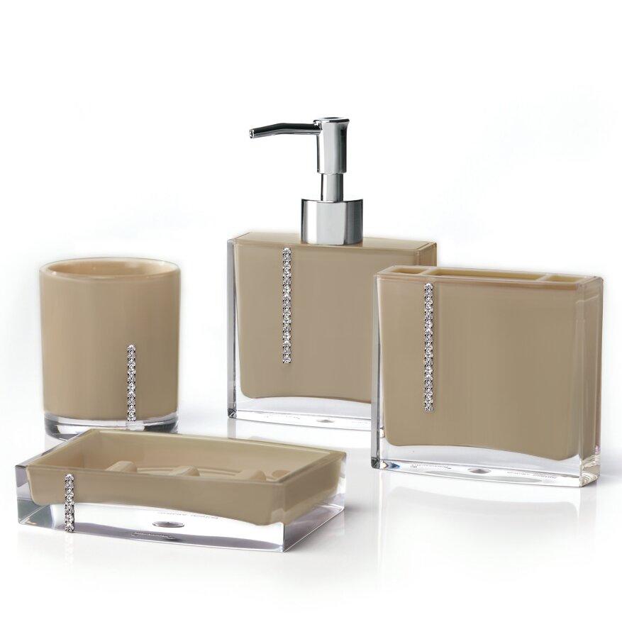 Immanuel cristal 4 piece bathroom accessory set reviews for Bathroom 4 piece set