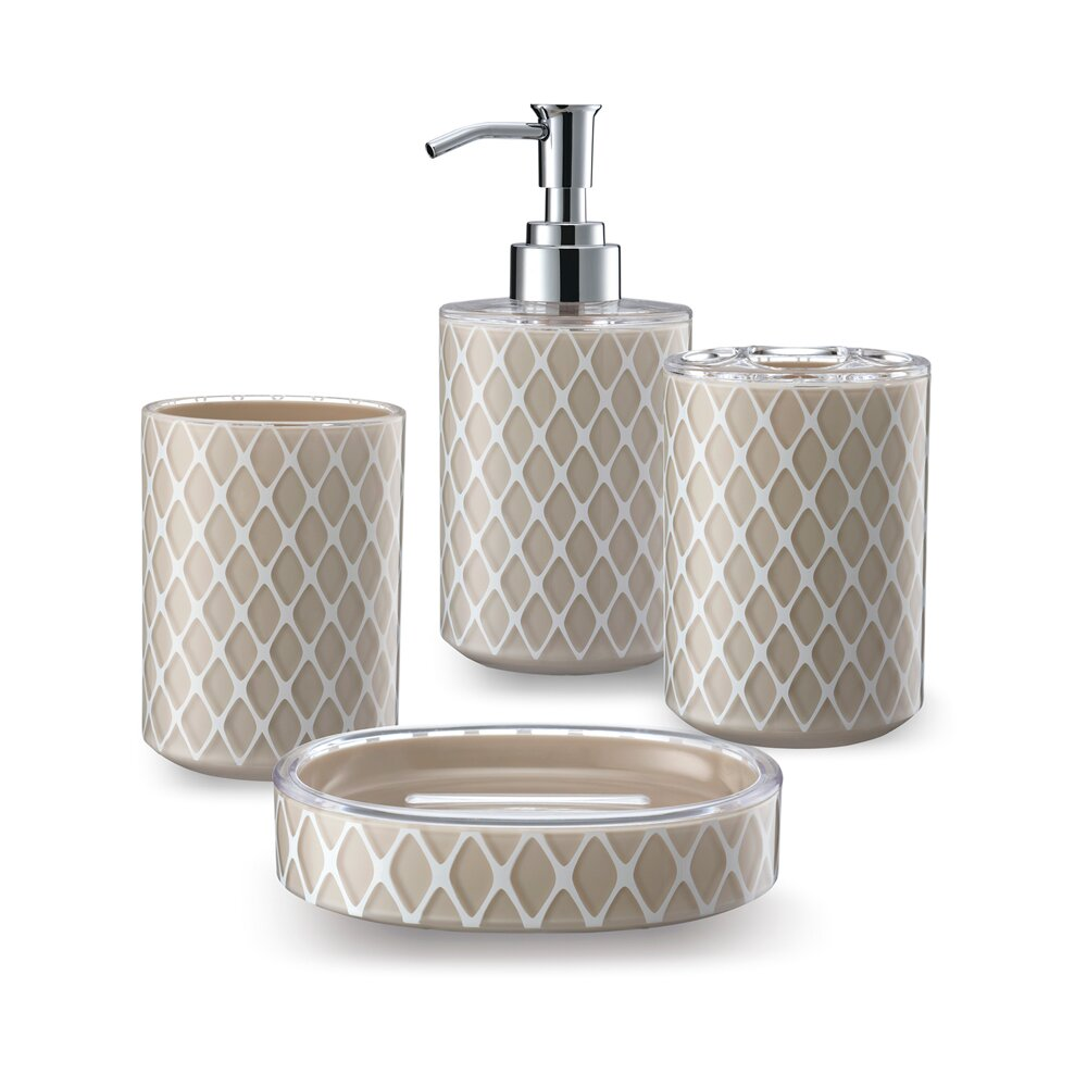 Immanuel 3d net work 4 piece bathroom accessory set for 3d bathroom accessories