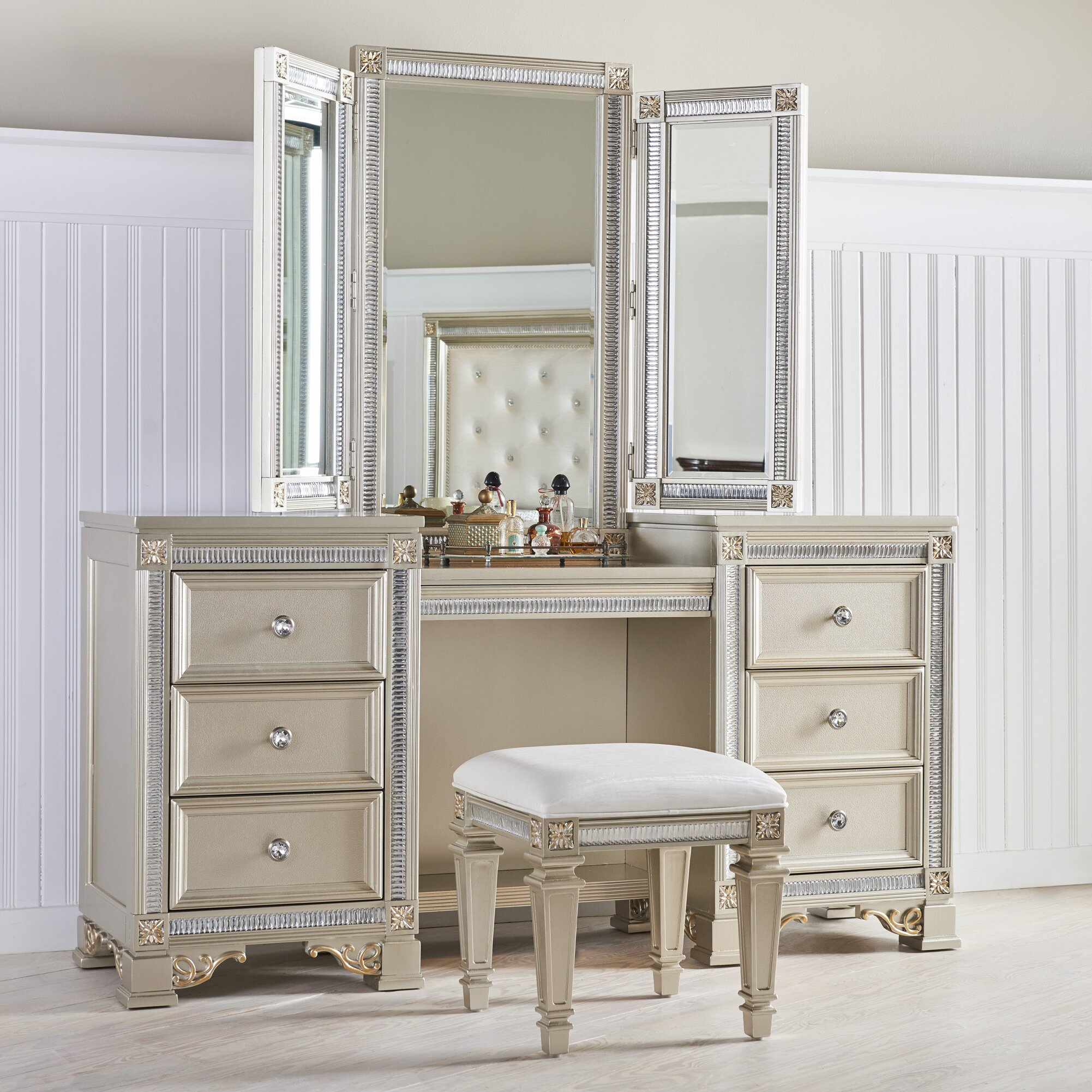 Fairfax home collections tiffany vanity with mirror wayfair for Mirror vanity