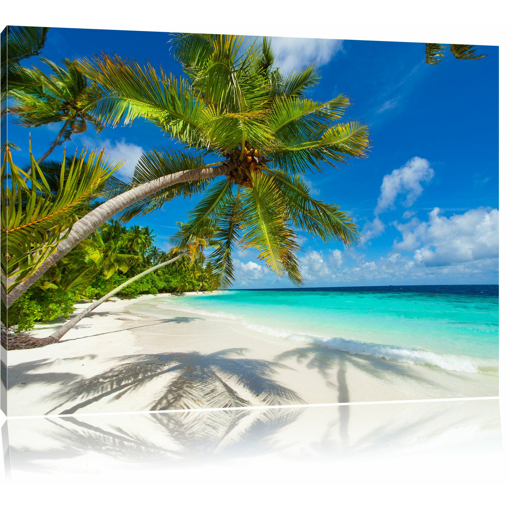 Palm Tree Beach: Pixxprint Palm Tree Beach Photographic Print On Canvas