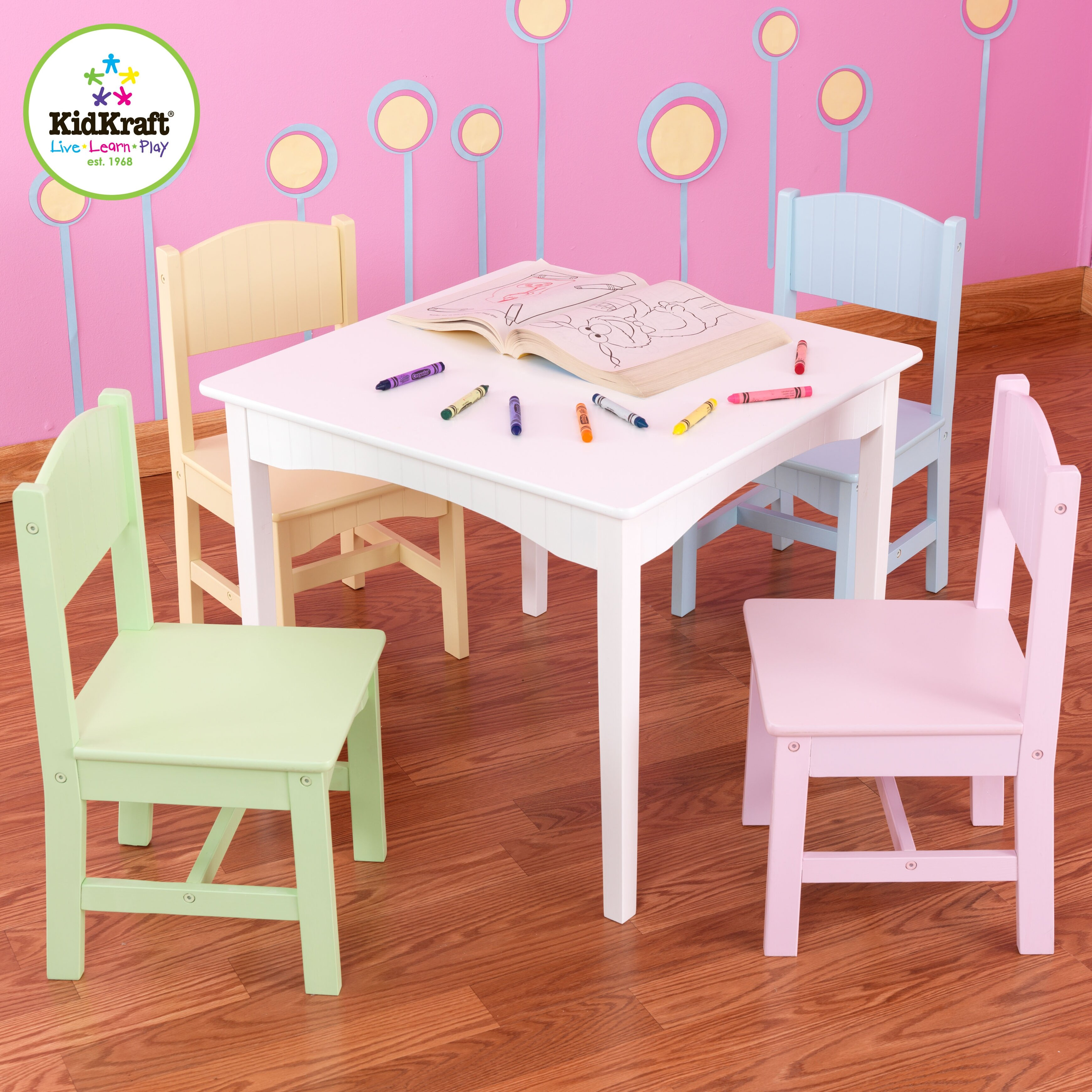 Kidkraft nantucket kids 5 piece table chair set for Table kidkraft