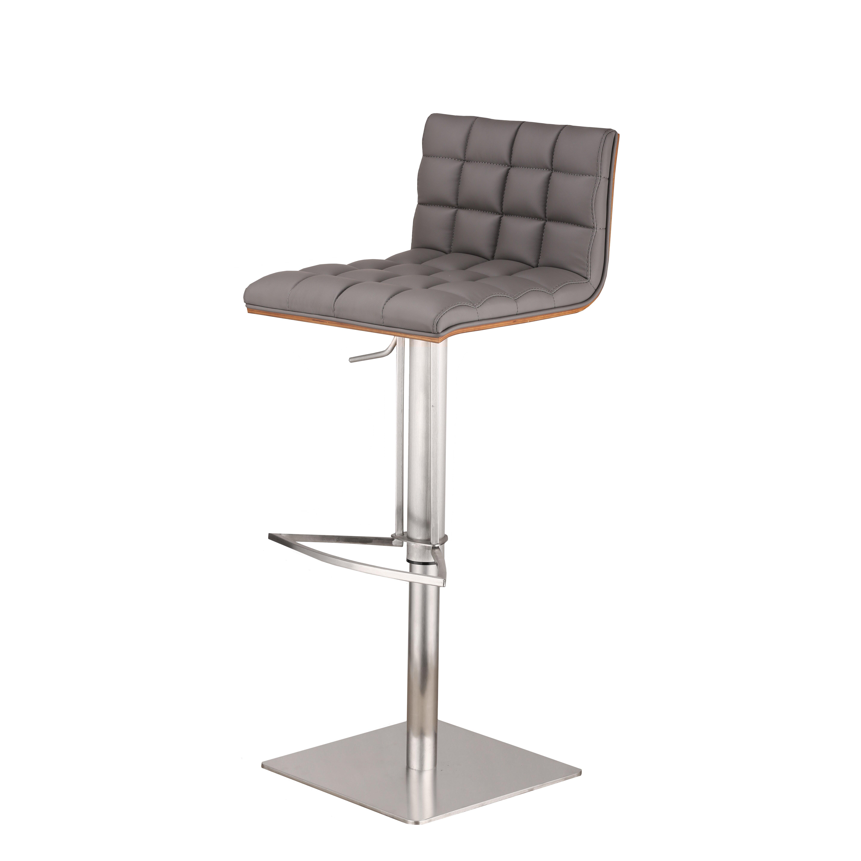 Armen living oslo adjustable height swivel bar stool for Adjustable height bar stools