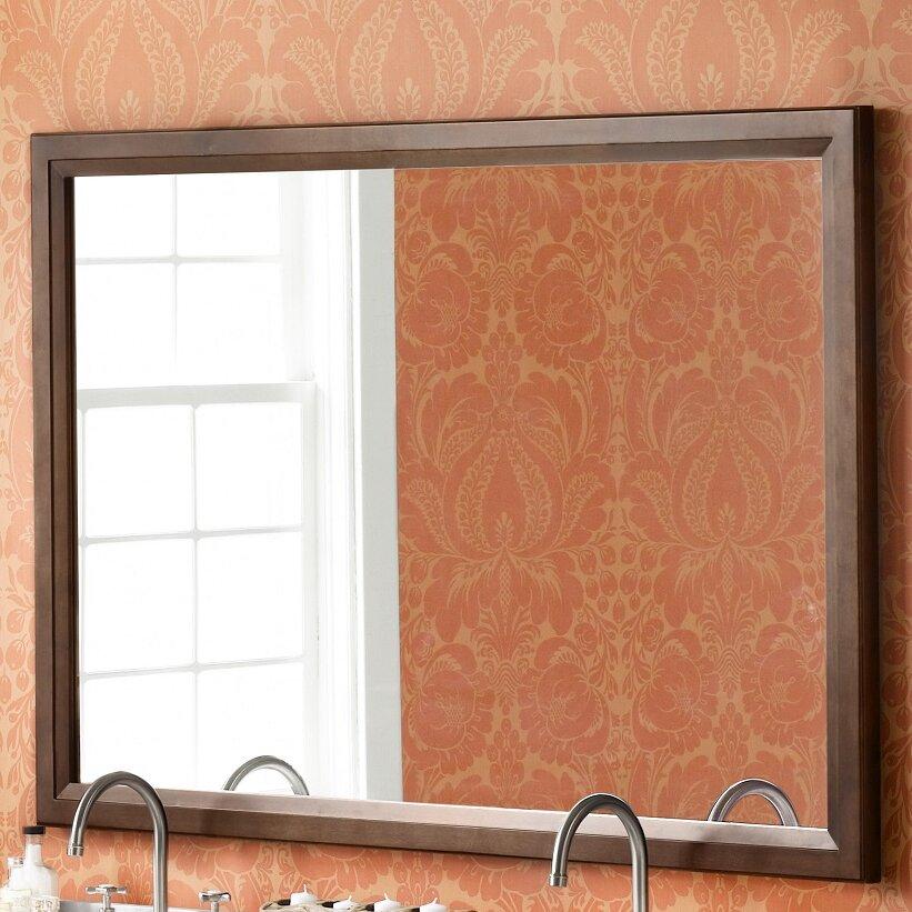 Ronbow Transitional 60 X 39 Solid Wood Framed Bathroom Mirror In Caf Walnut Reviews Wayfair