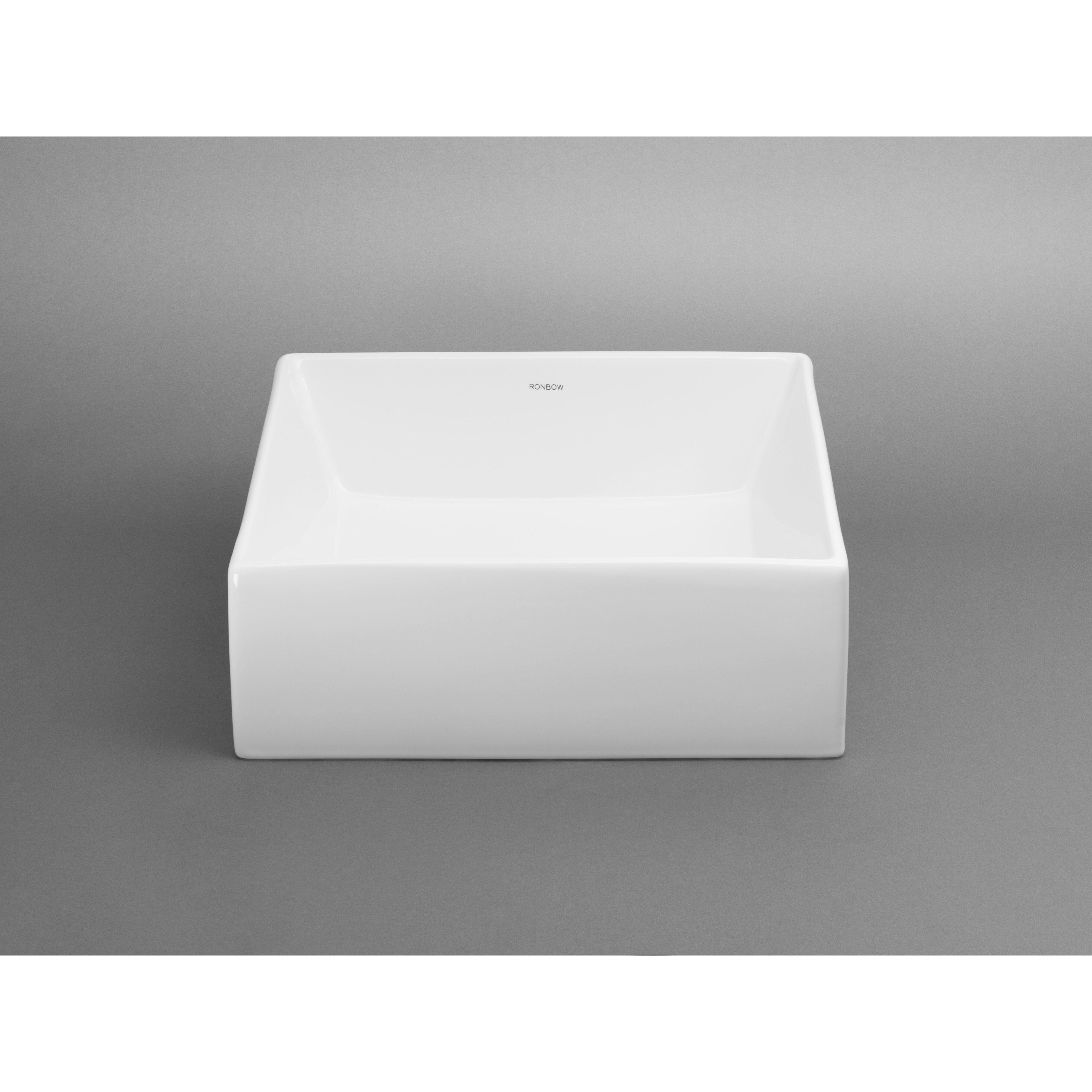 Ronbow Square Ceramic Vessel Bathroom Sink In White