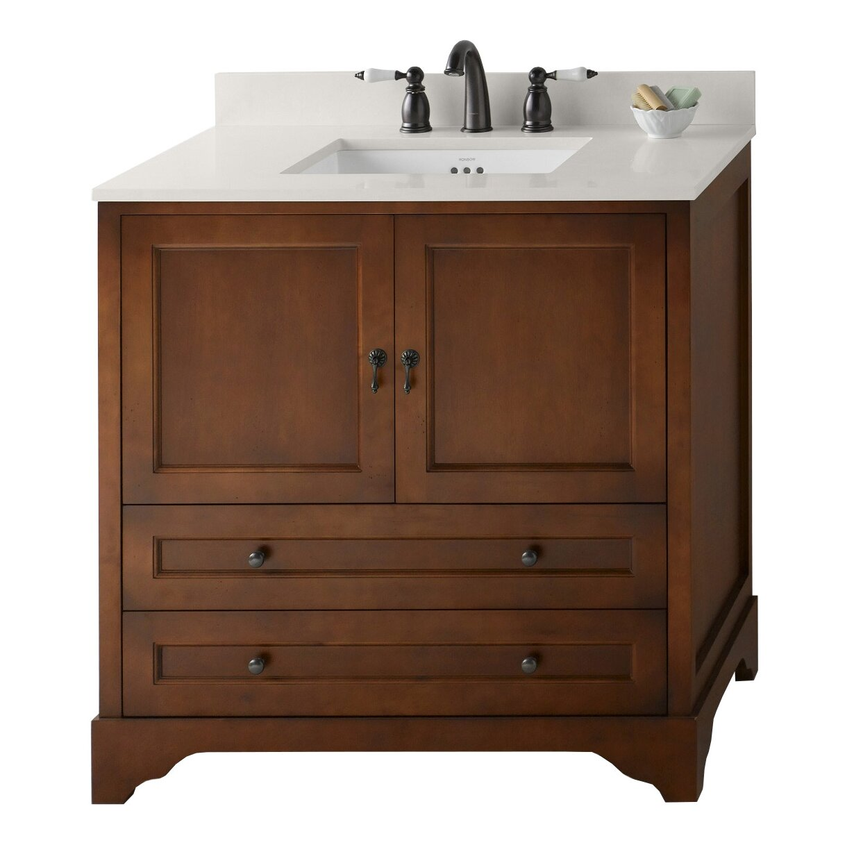 Ronbow milano 36 single bathroom vanity set wayfair for Bath and vanity set