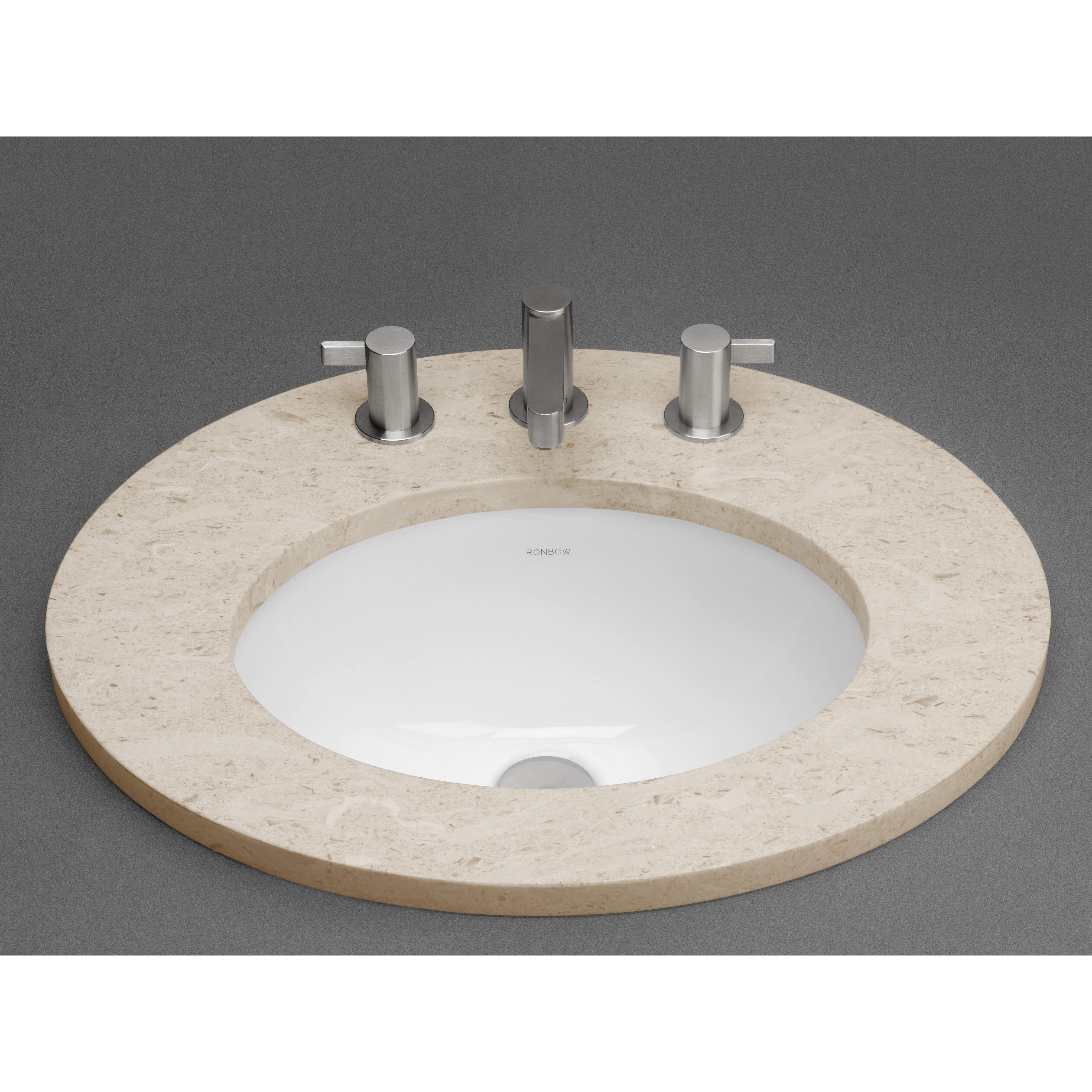 ronbow oval ceramic undermount bathroom sink in white