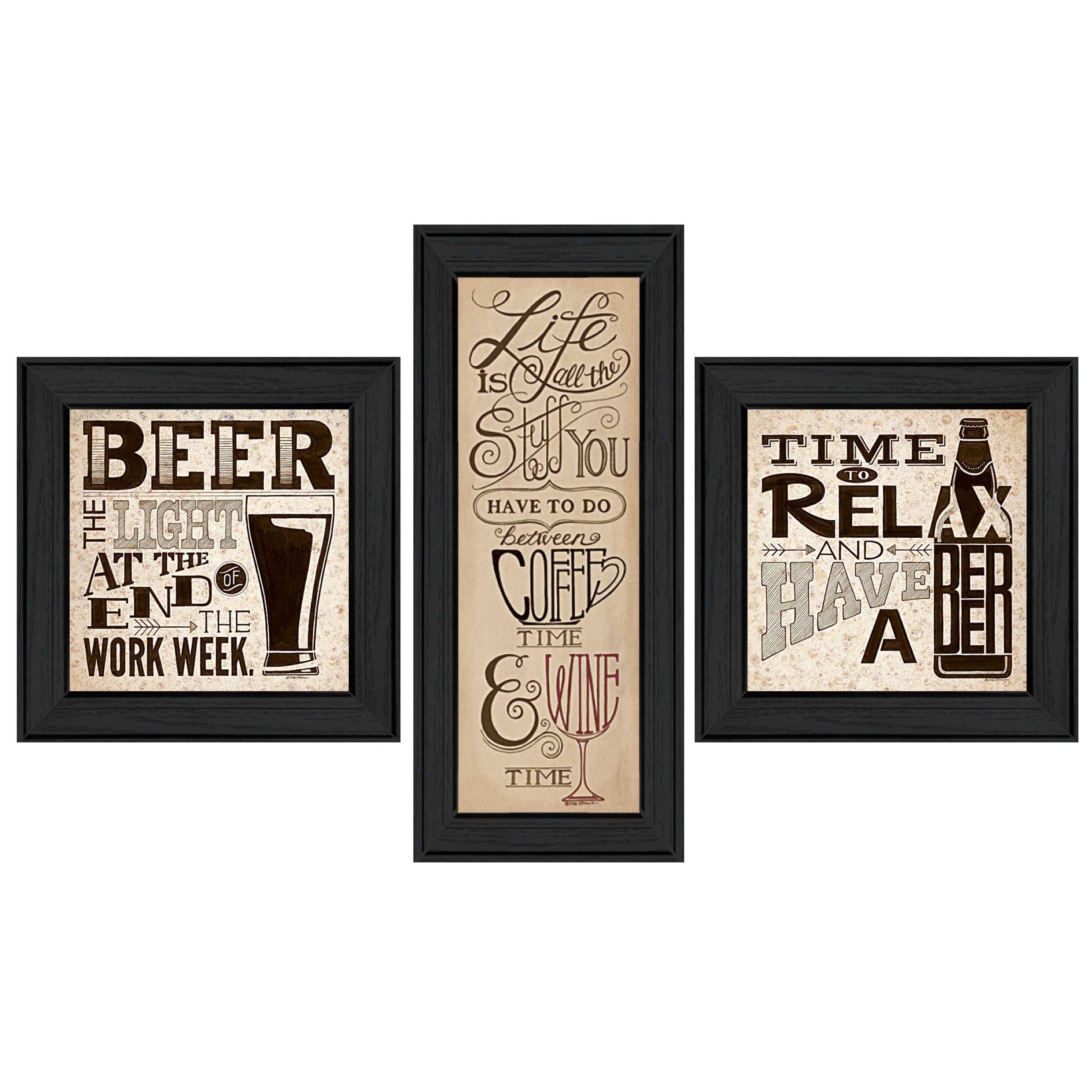 Trendy decor 4u 39 beer time 39 by deb strain 3 piece framed for Home decor 4 u