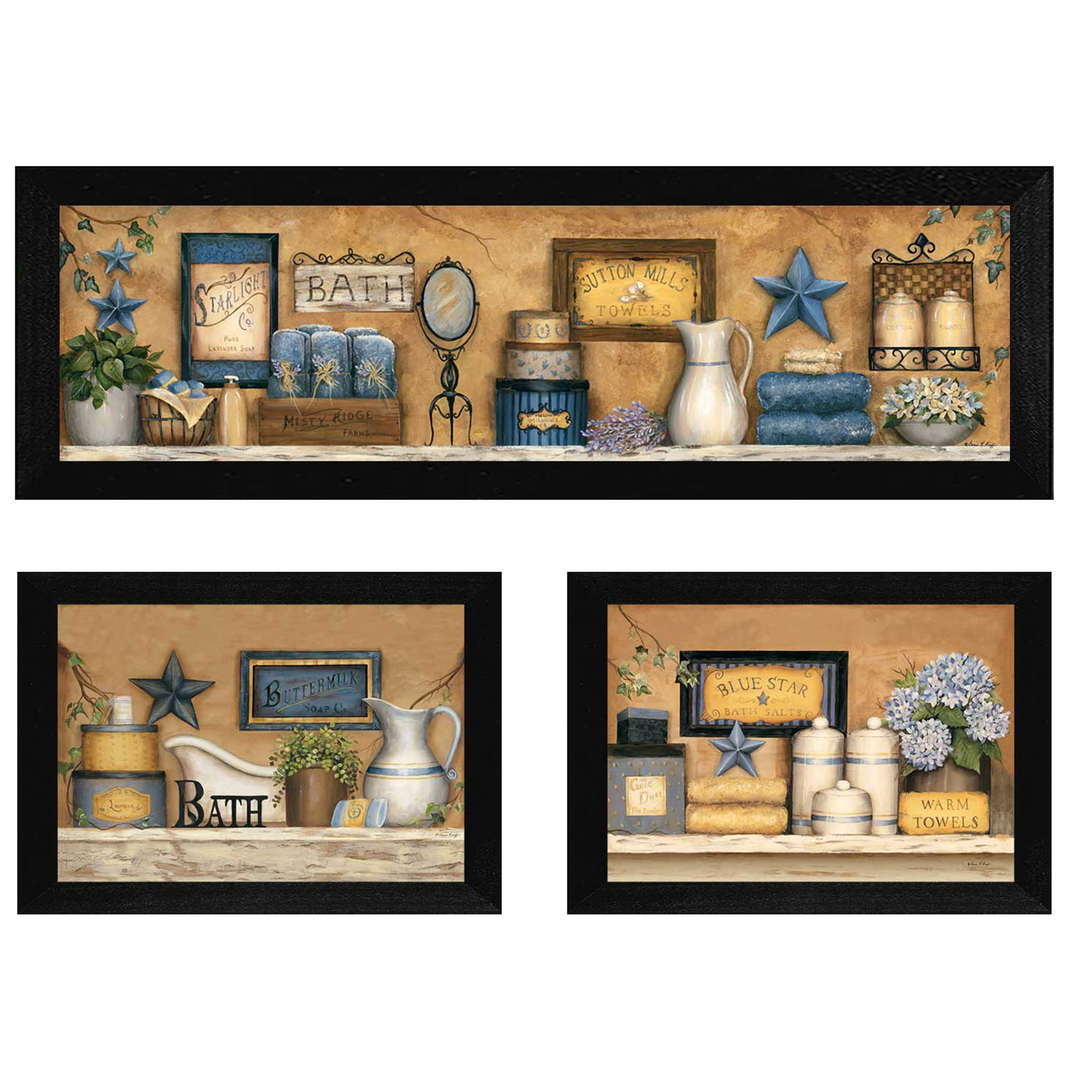 trendy decor 4u 39 bathroom collection iii 39 by carrie knoff 3 piece framed graphic art set. Black Bedroom Furniture Sets. Home Design Ideas
