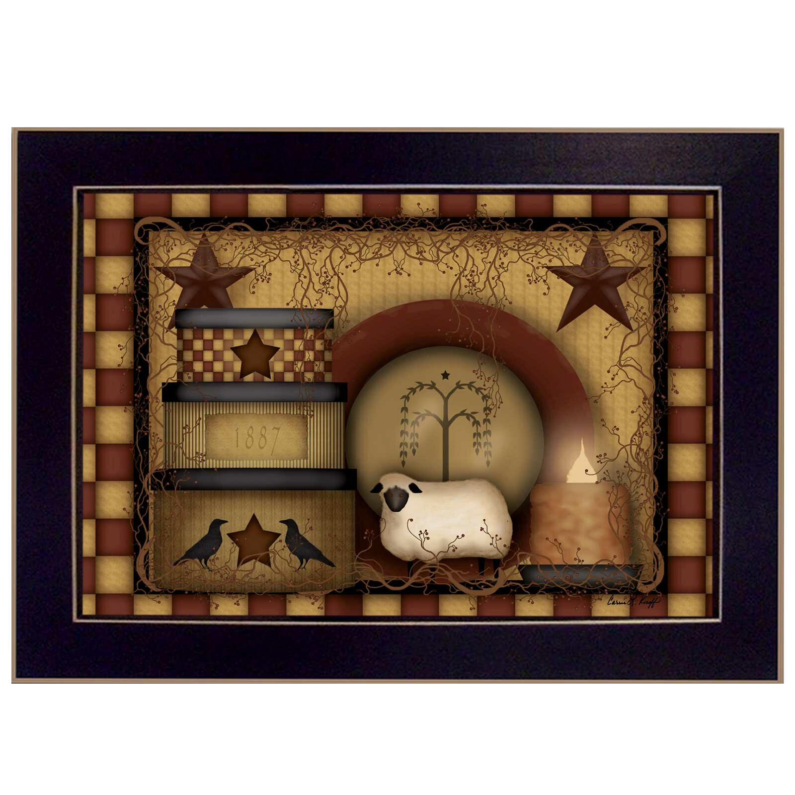 Trendy Decor 4u Primitive Starberry By Carrie Knoff Framed
