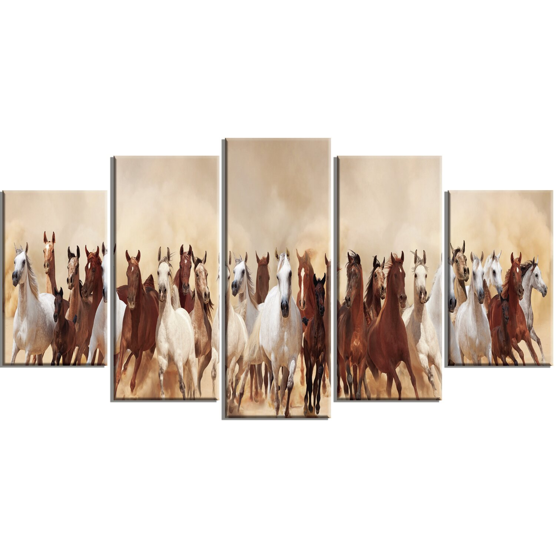 designart 39 horses herd in sand storm 39 5 piece wall art on. Black Bedroom Furniture Sets. Home Design Ideas