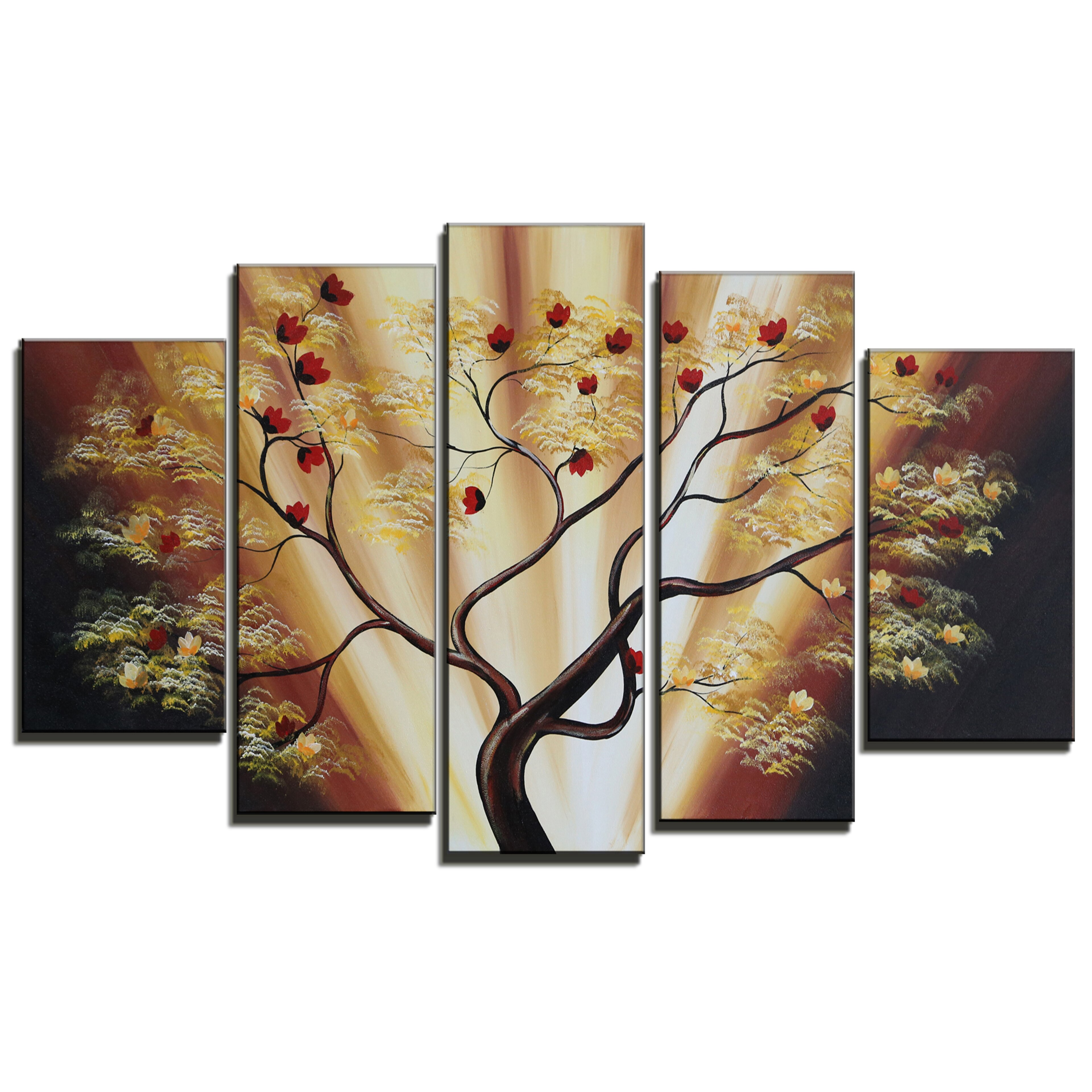 designart budding cherry blossom tree 5 piece original painting on canvas set reviews wayfair. Black Bedroom Furniture Sets. Home Design Ideas