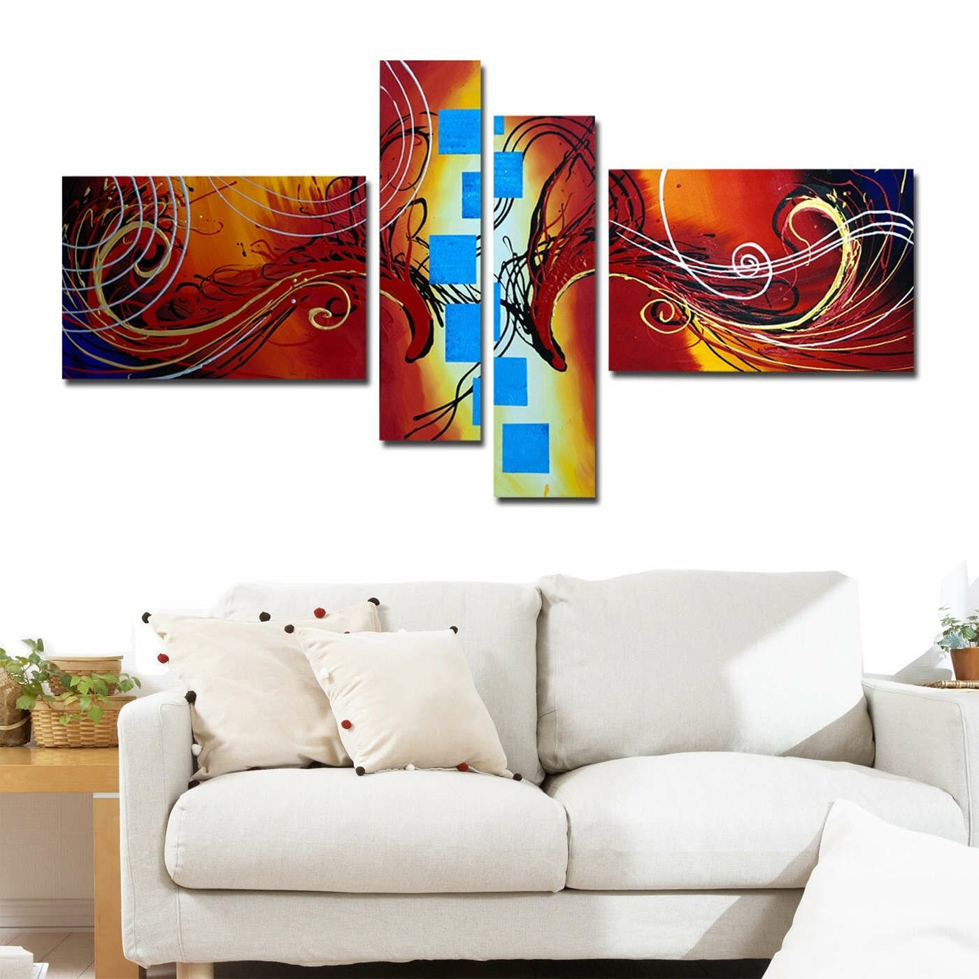 designart modern abstract 4 piece original painting on. Black Bedroom Furniture Sets. Home Design Ideas