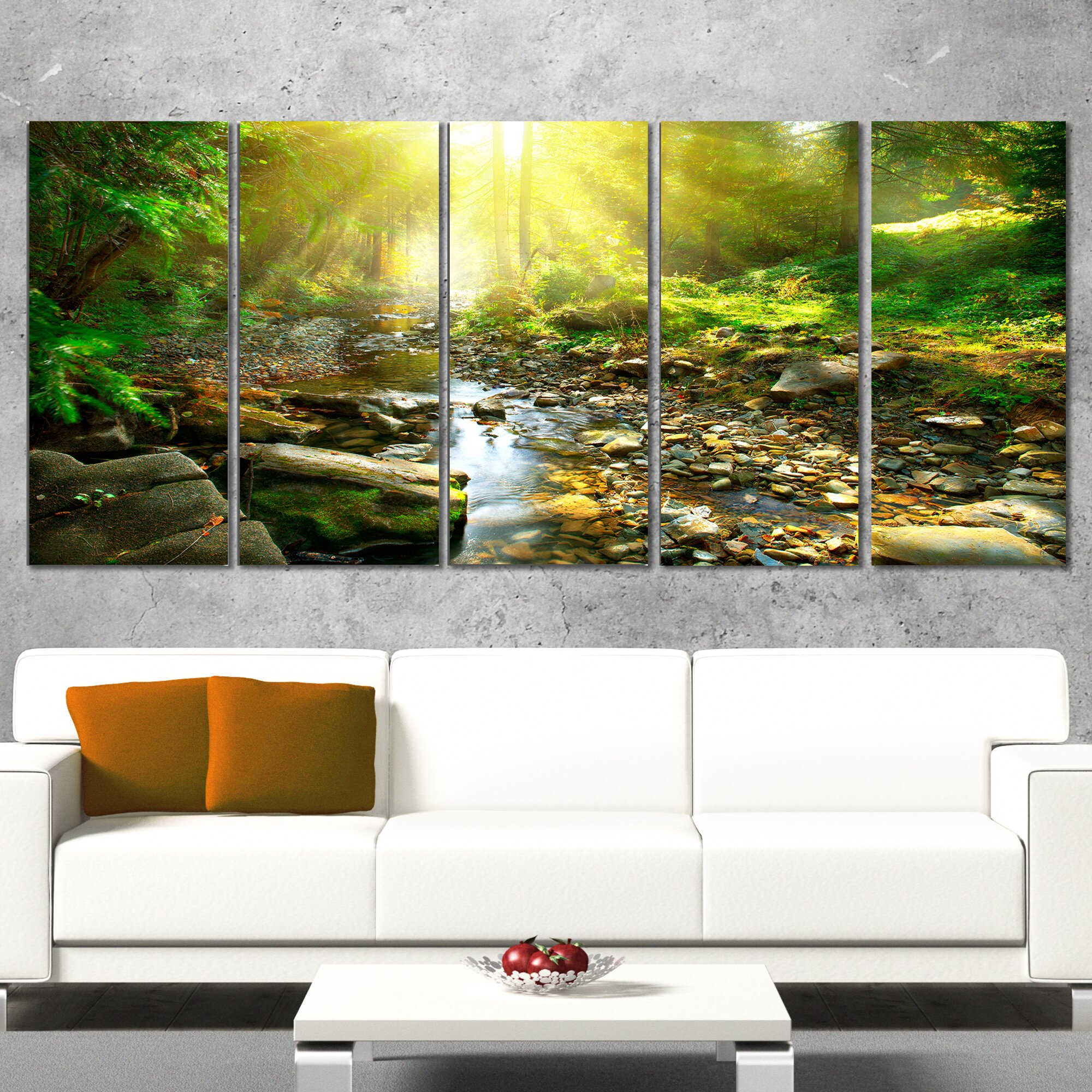 designart mountain stream in forest 5 piece wall art on wrapped canvas set wayfair. Black Bedroom Furniture Sets. Home Design Ideas