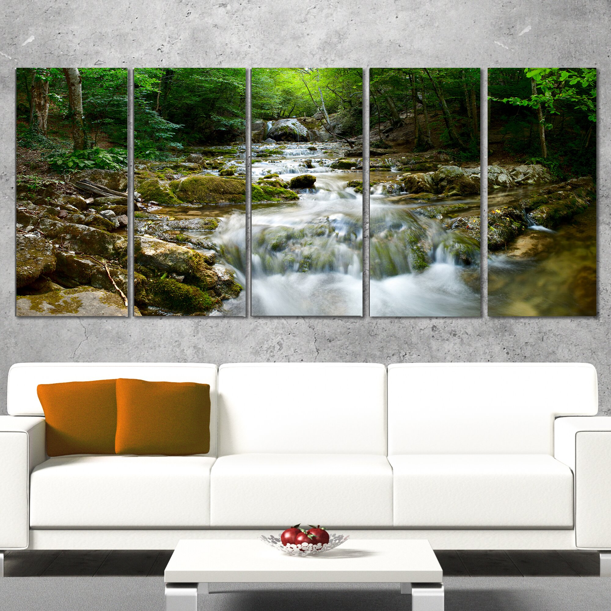 Designart natural spring waterfall 5 piece photographic for Waterfall set design