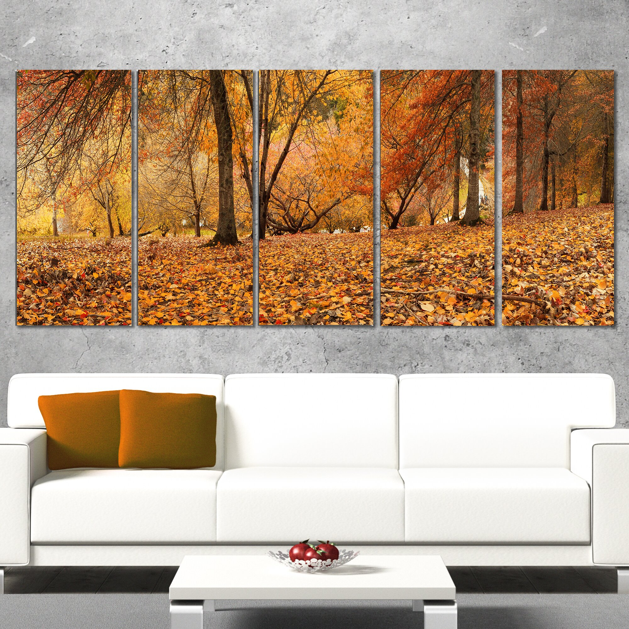 designart brown autumn panorama 5 piece wall art on wrapped canvas set wayfair. Black Bedroom Furniture Sets. Home Design Ideas
