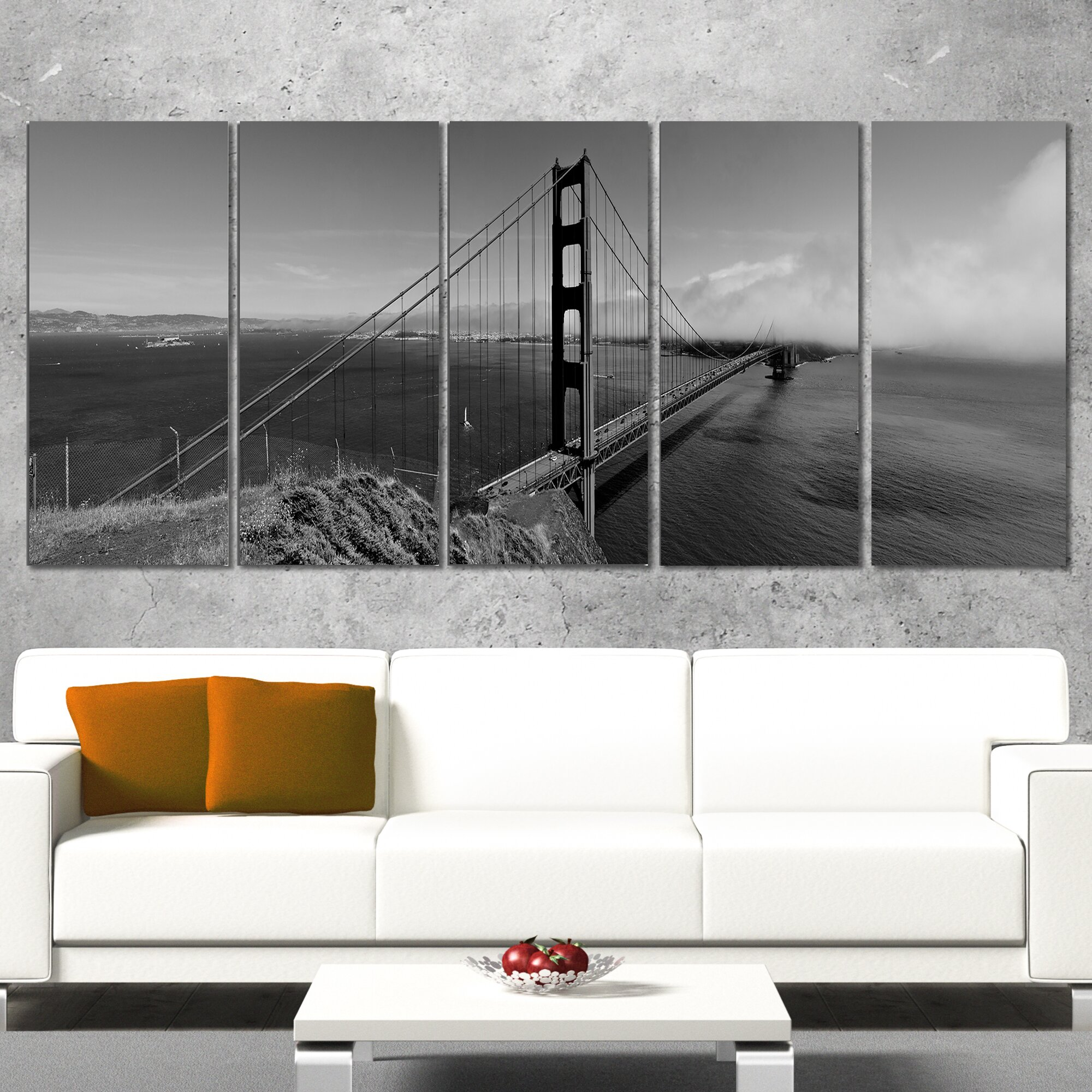 Designart Golden Gate Bridge In Gray Panorama 5 Piece Wall