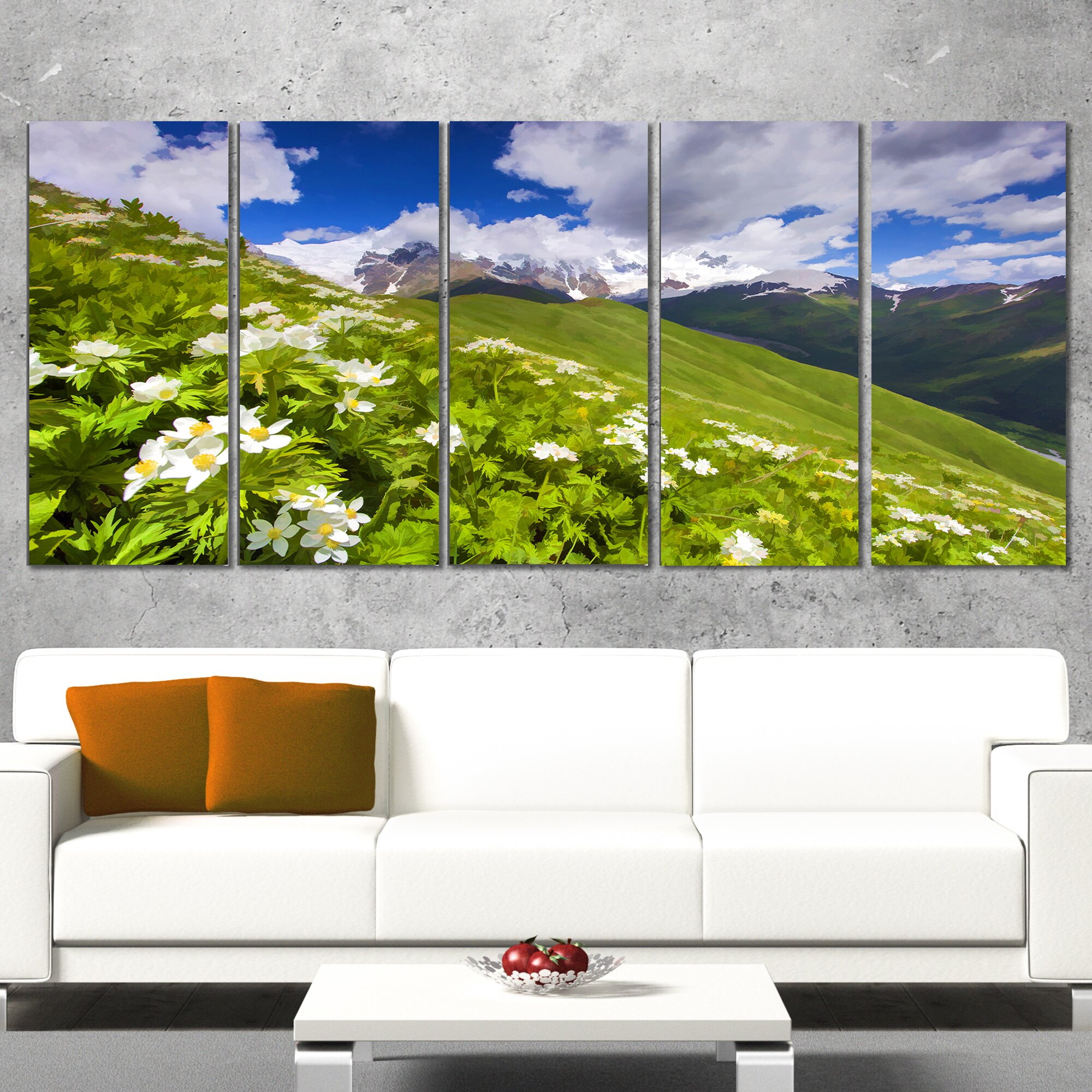 designart blossom flowers in mountains 5 piece wall art on wrapped canvas set wayfair. Black Bedroom Furniture Sets. Home Design Ideas