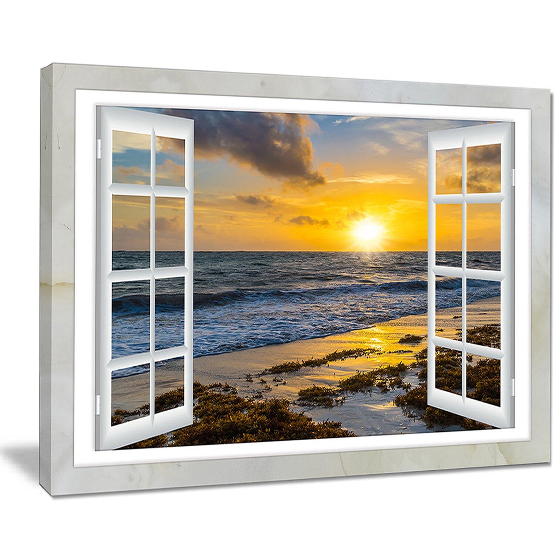Designart open window to bright yellow sunset graphic art for Window design art