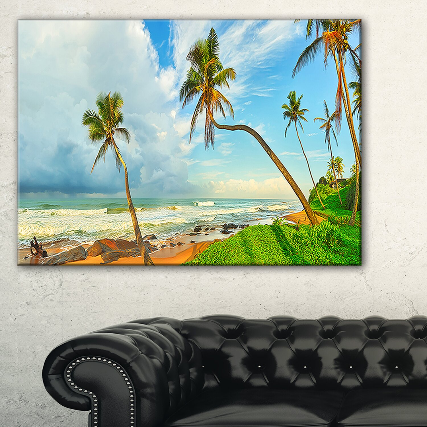 Designart palm trees over the beach sri lanka photographic for Art decoration sri lanka