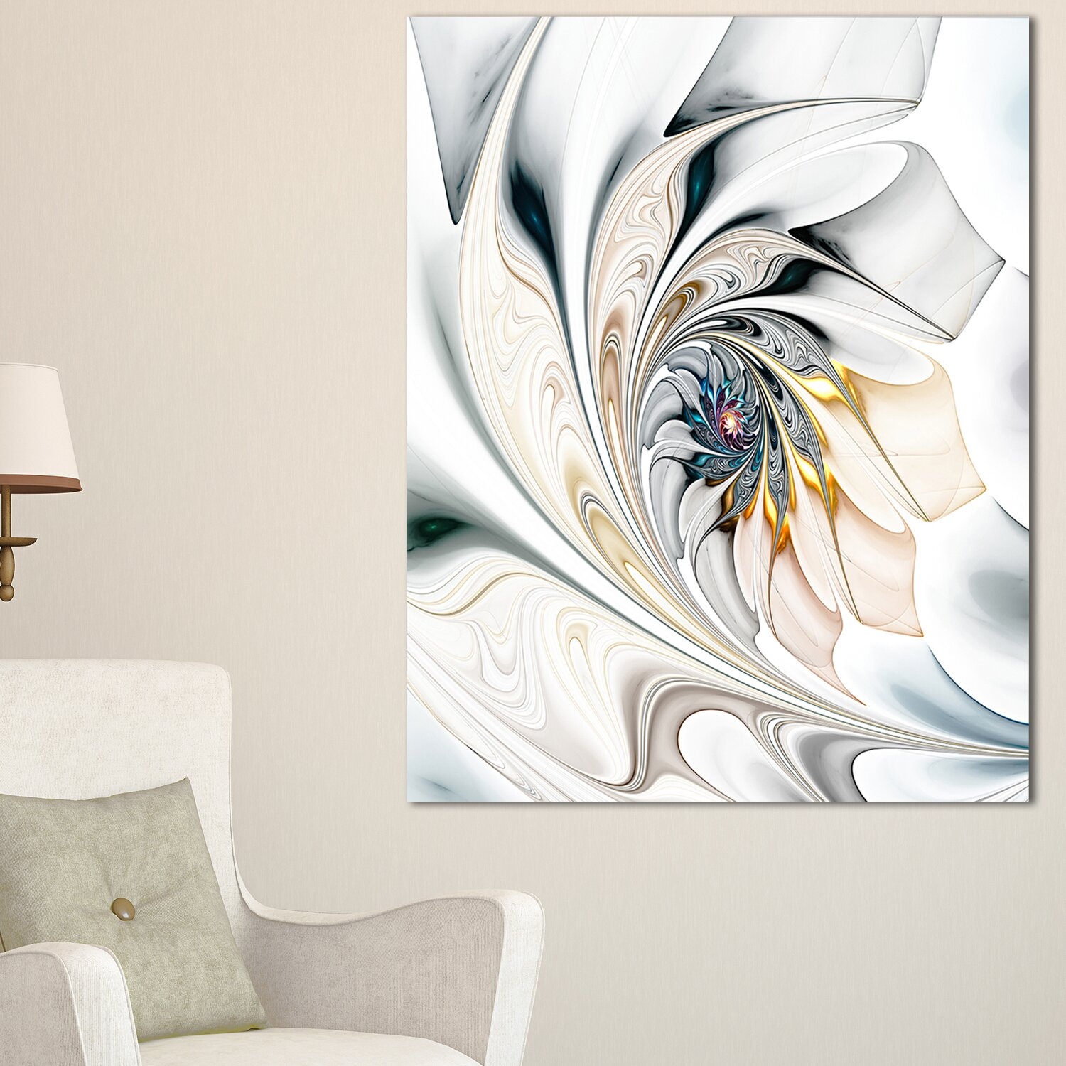 Designart White Stained Glass Floral Large Floral Graphic