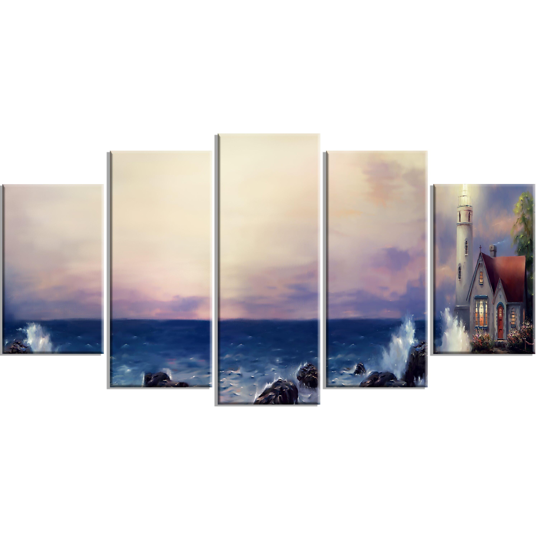 designart 39 lighthouse sea panoramic 39 5 piece wall art on wrapped canvas set wayfair. Black Bedroom Furniture Sets. Home Design Ideas