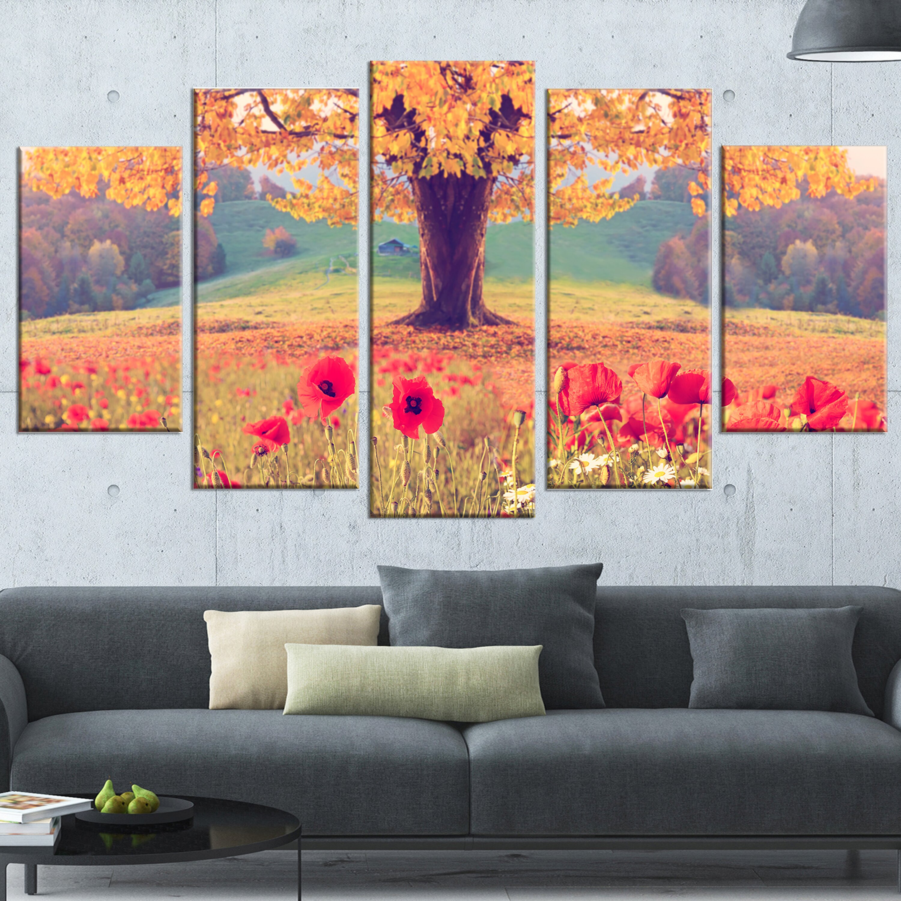 designart 39 landscape with poppy flowers 39 5 piece wall art on wrapped canvas set wayfair. Black Bedroom Furniture Sets. Home Design Ideas