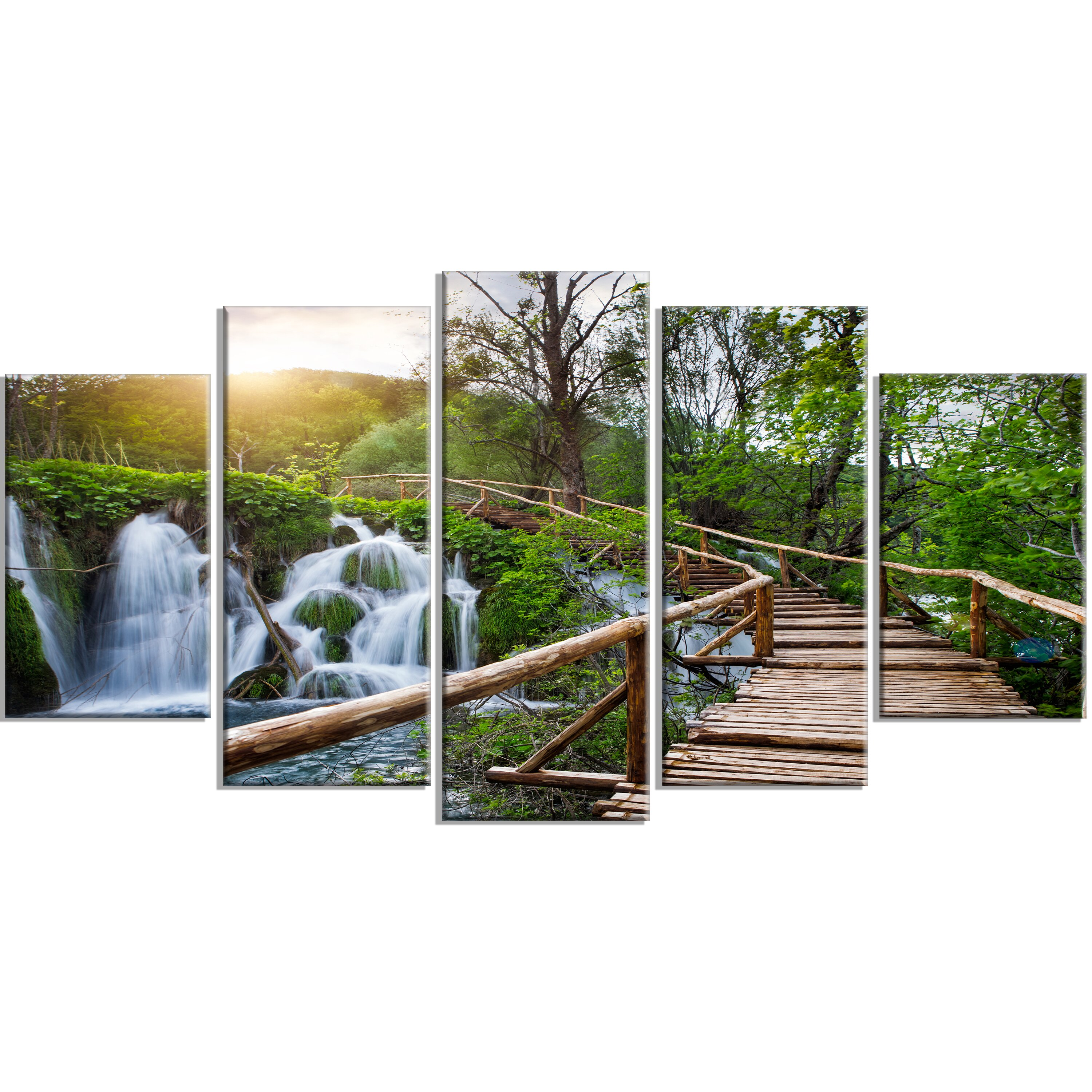 designart 39 pathway in plitvice lakes 39 5 piece wall art on wrapped canvas set wayfair. Black Bedroom Furniture Sets. Home Design Ideas