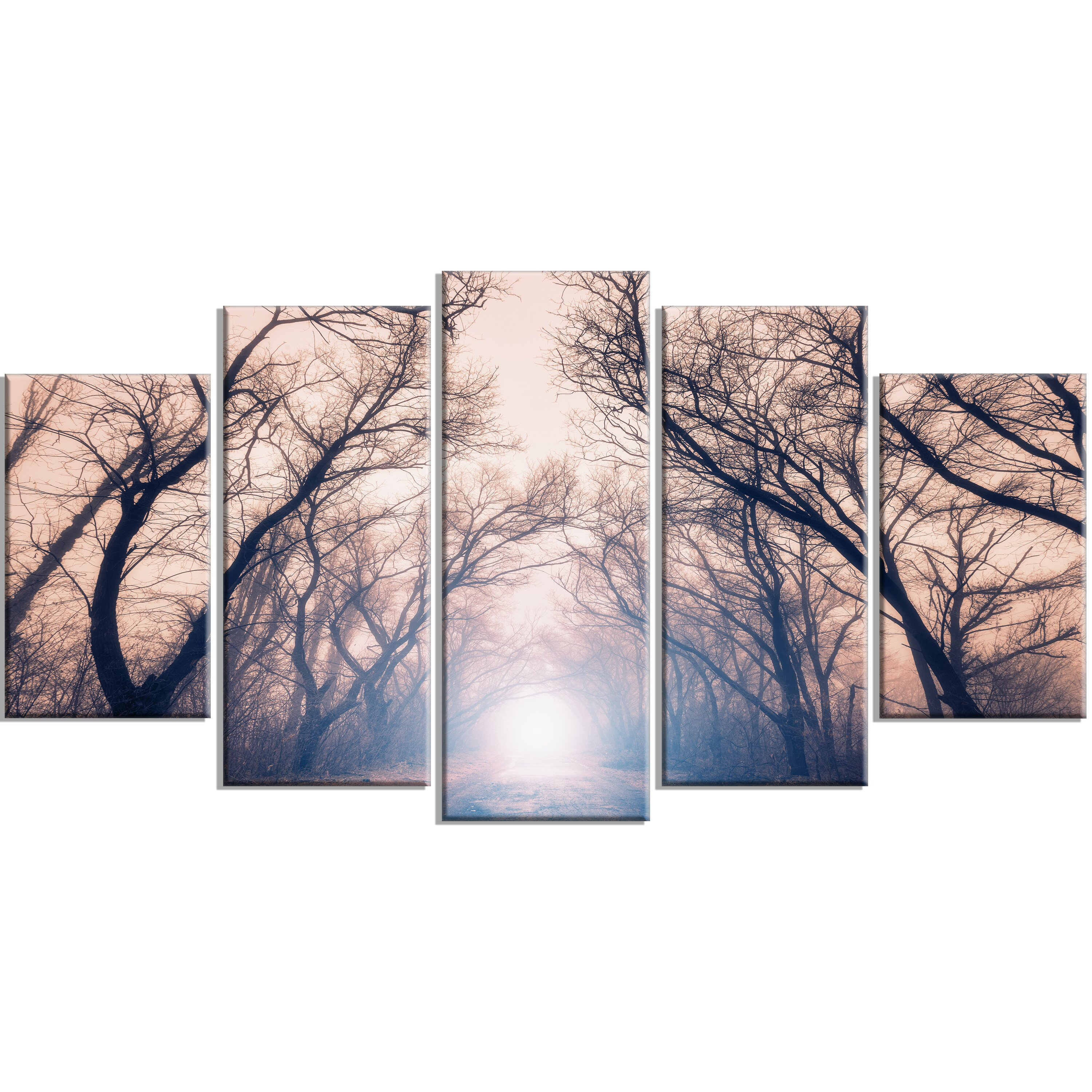 designart 39 mysterious sunlight in forest 39 5 piece wall art on wrapped canvas set. Black Bedroom Furniture Sets. Home Design Ideas