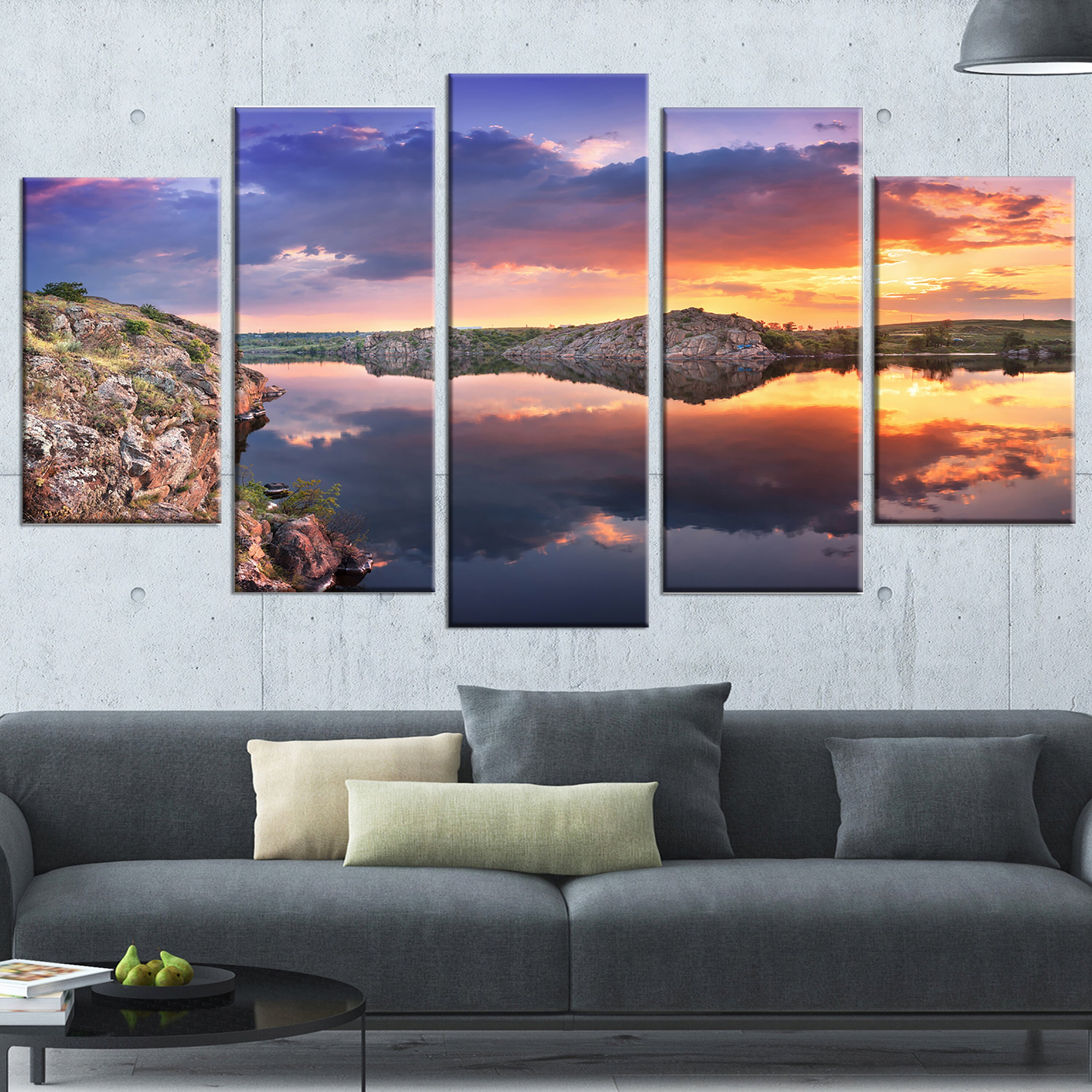 designart 39 large summer clouds reflection 39 5 piece wall art on wrapped canvas set wayfair. Black Bedroom Furniture Sets. Home Design Ideas
