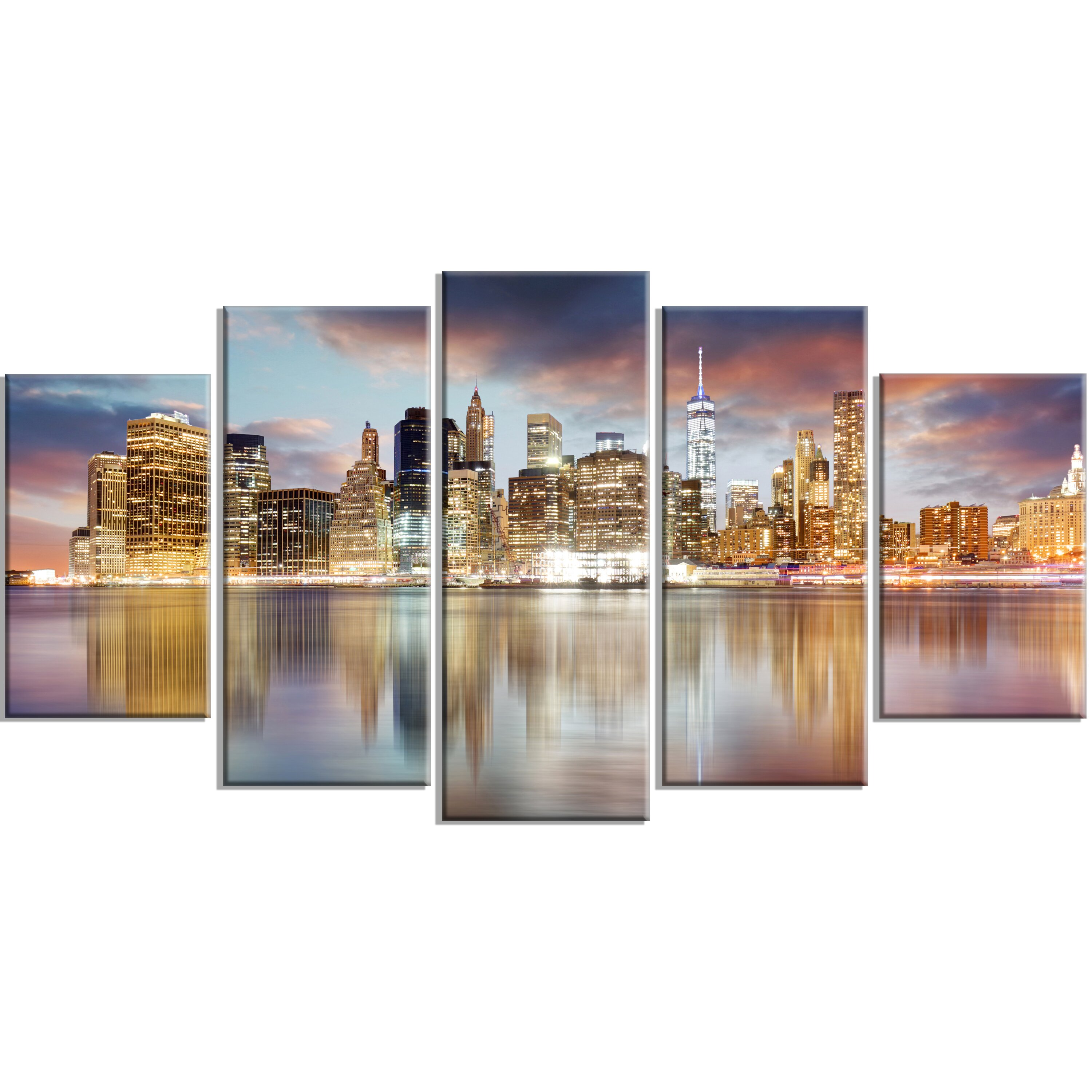 High Lights Of New York Skyline Canvas Wall Art: DesignArt 'New York Skyline At Sunrise With Reflection.' 5