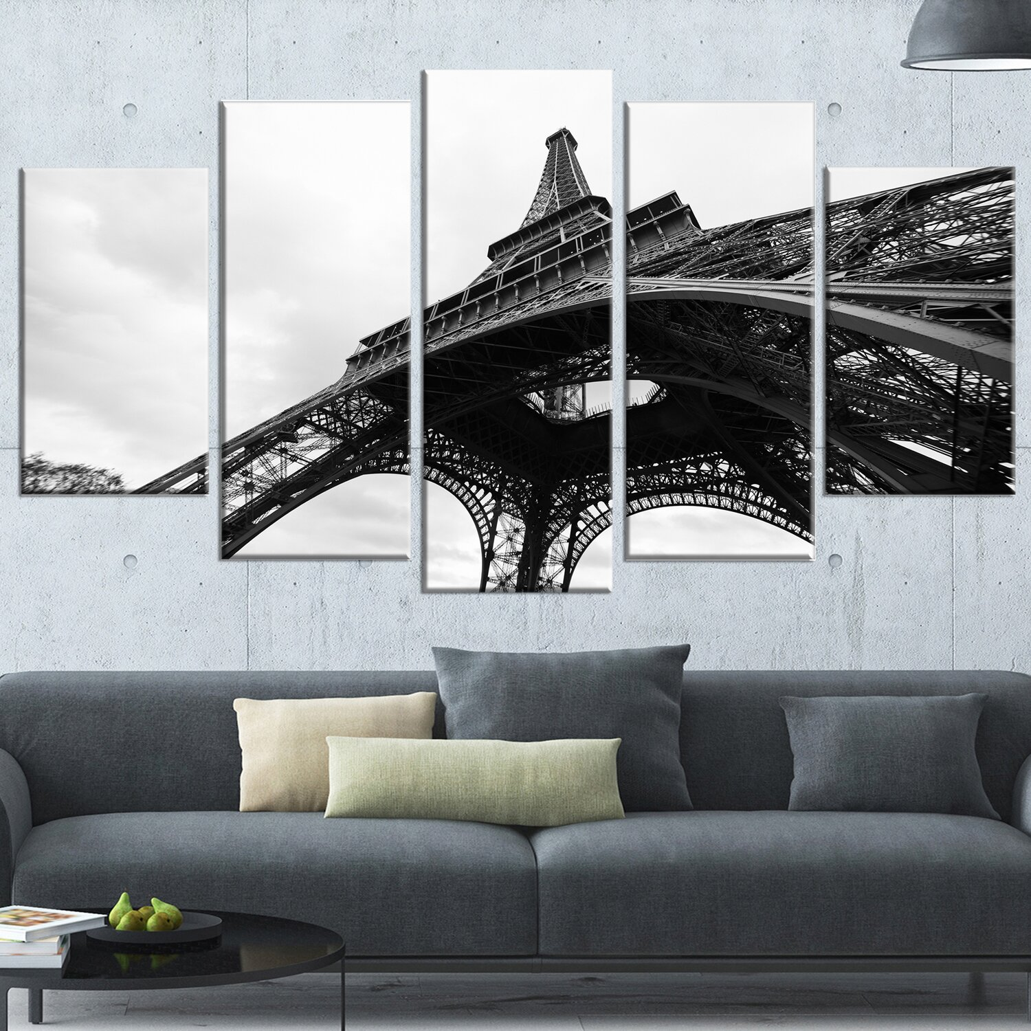 Designart 39 paris eiffel tower in black and white side view for Eiffel tower wall mural black and white