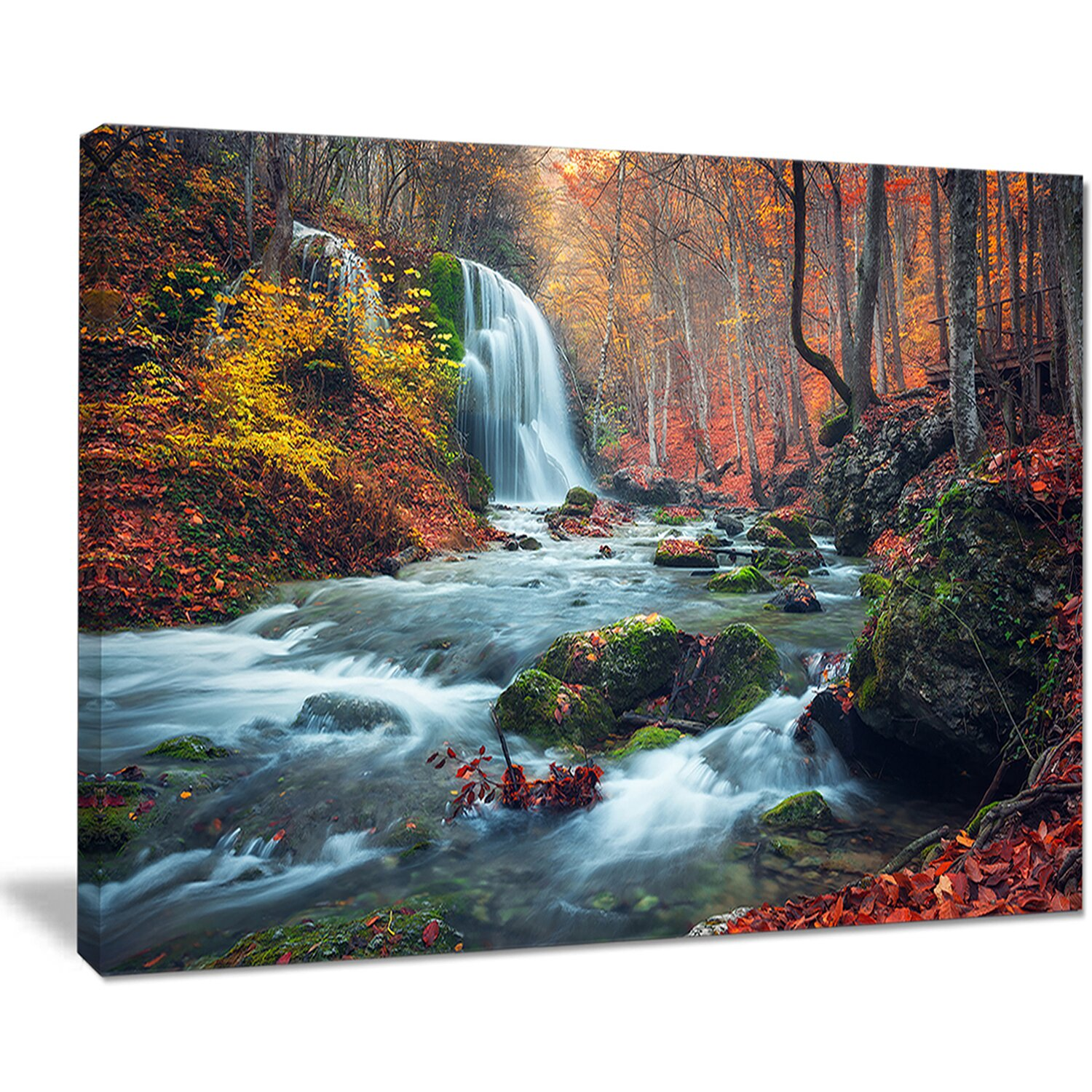 DesignArt 'Autumn Mountain Waterfall Long View' Photographic Print on Wrapped Canvas & Reviews | Wayfair