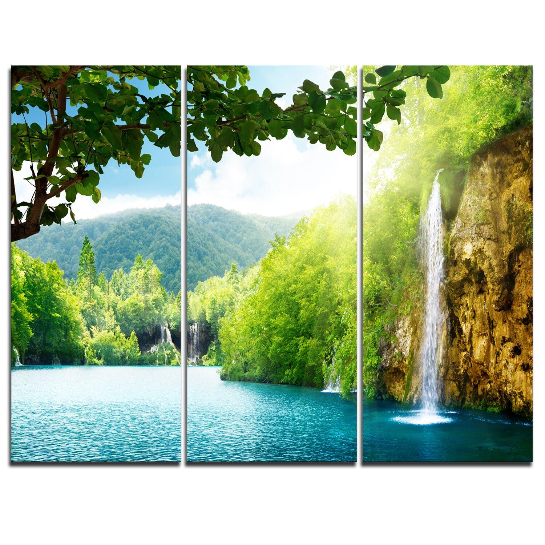 Designart waterfall in deep forest 3 piece graphic art for Waterfall set design