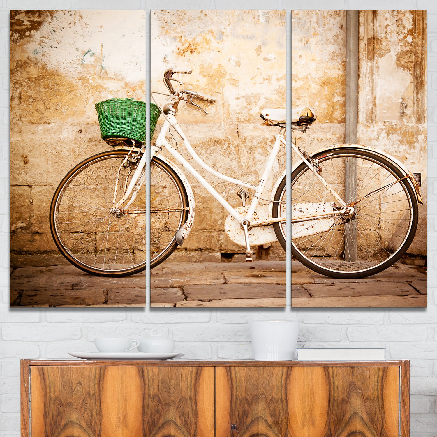 Designart Bicycle Against Wall 3 Piece Graphic Art On