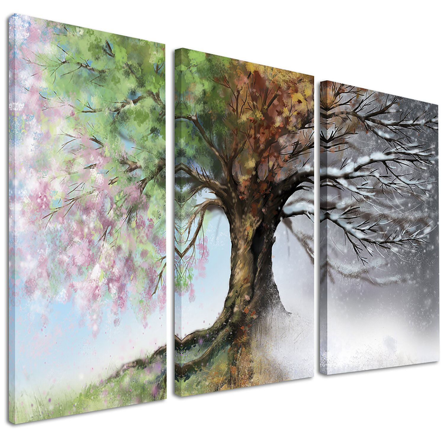 DesignArt Tree With Four Seasons 3 Piece Graphic Art On
