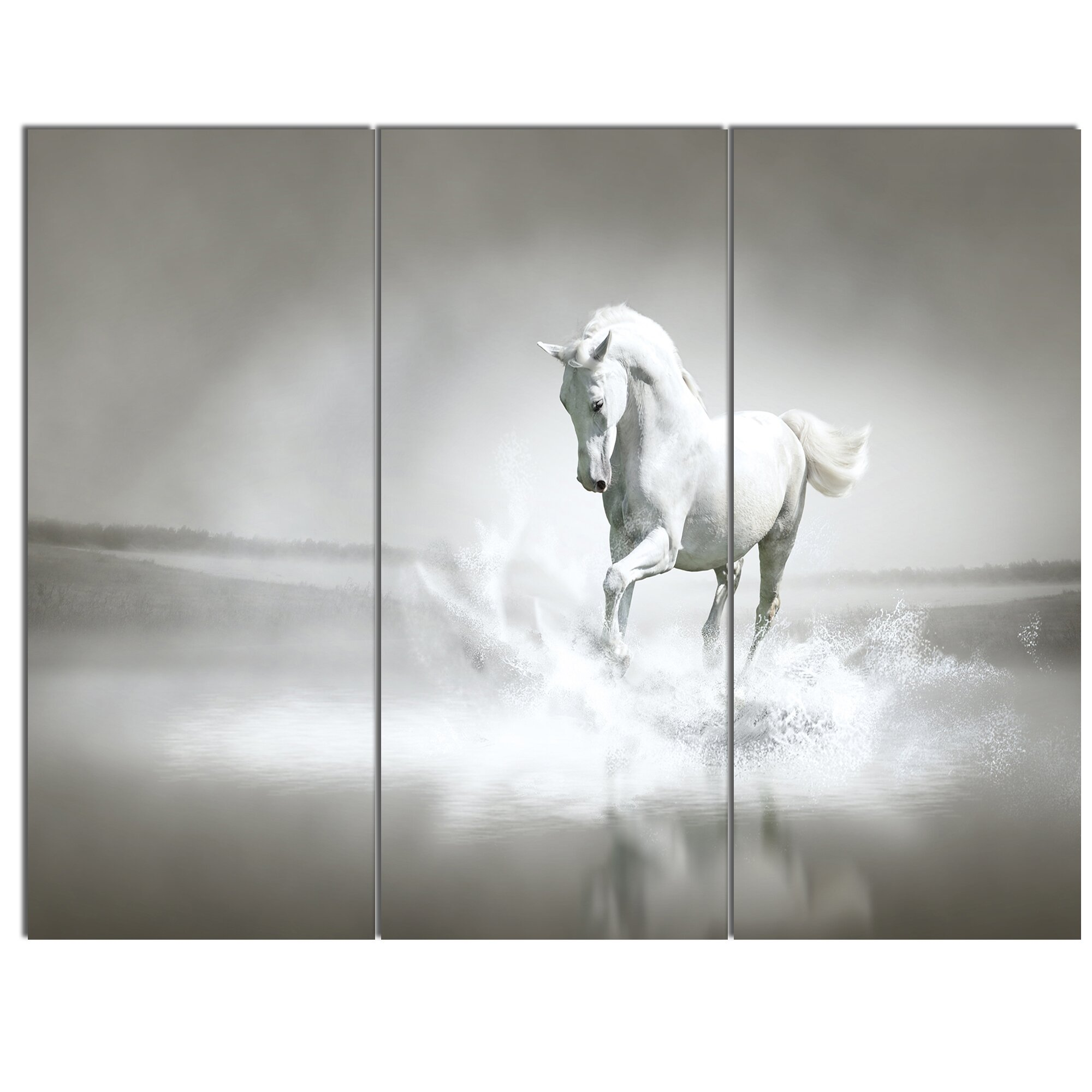 DesignArt 'White Horse Running in Water' 3 Piece Wall Art ...