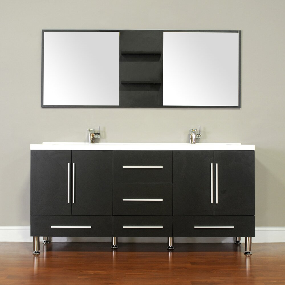 Alya bath ripley 67 double modern bathroom vanity set with mirror reviews wayfair - Kona modern bathroom vanity set ...