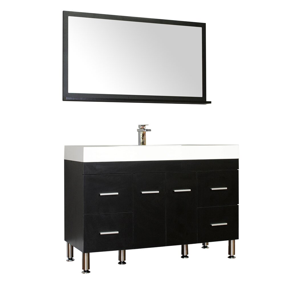 Alya bath ripley 47 single modern bathroom vanity set - Modern vanity mirrors for bathroom ...