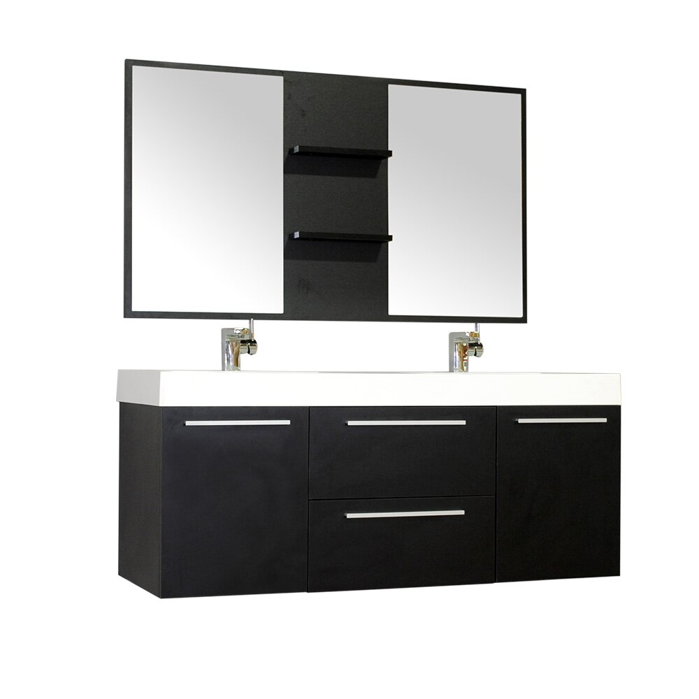 Alya bath ripley 54 double wall mount modern bathroom vanity set with mirror reviews wayfair - Linden modern bathroom vanity set ...
