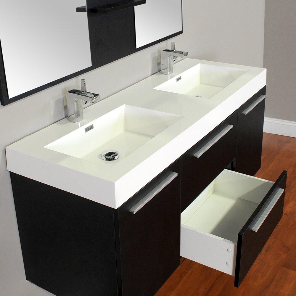 Alya bath ripley 54 double wall mount modern bathroom - Contemporary bathroom sinks and vanities ...